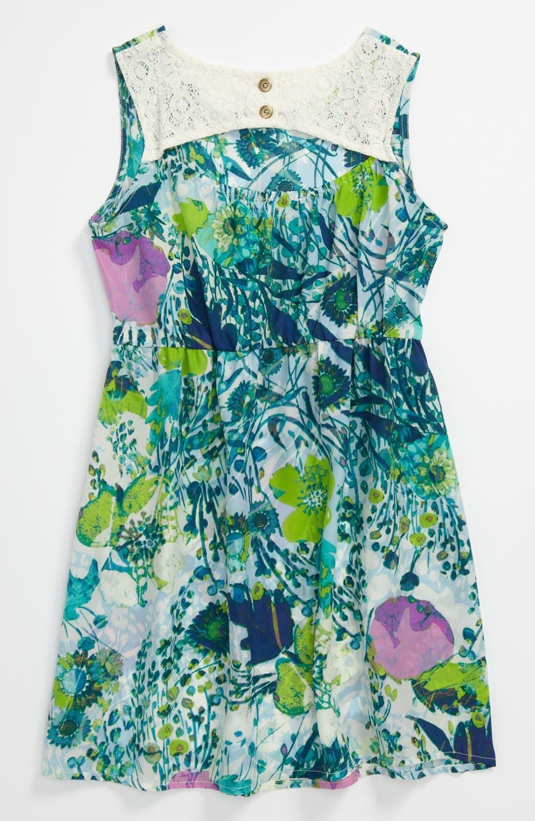 Alternate Image 2  - Mia Chica Floral Dress (Little Girls & Big Girls)