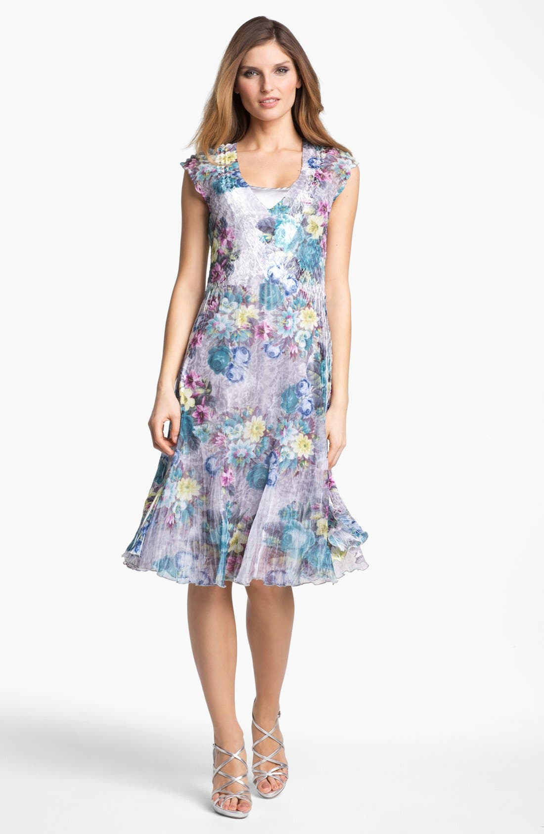 Alternate Image 1 Selected - Komarov Floral Print Textured Chiffon Dress