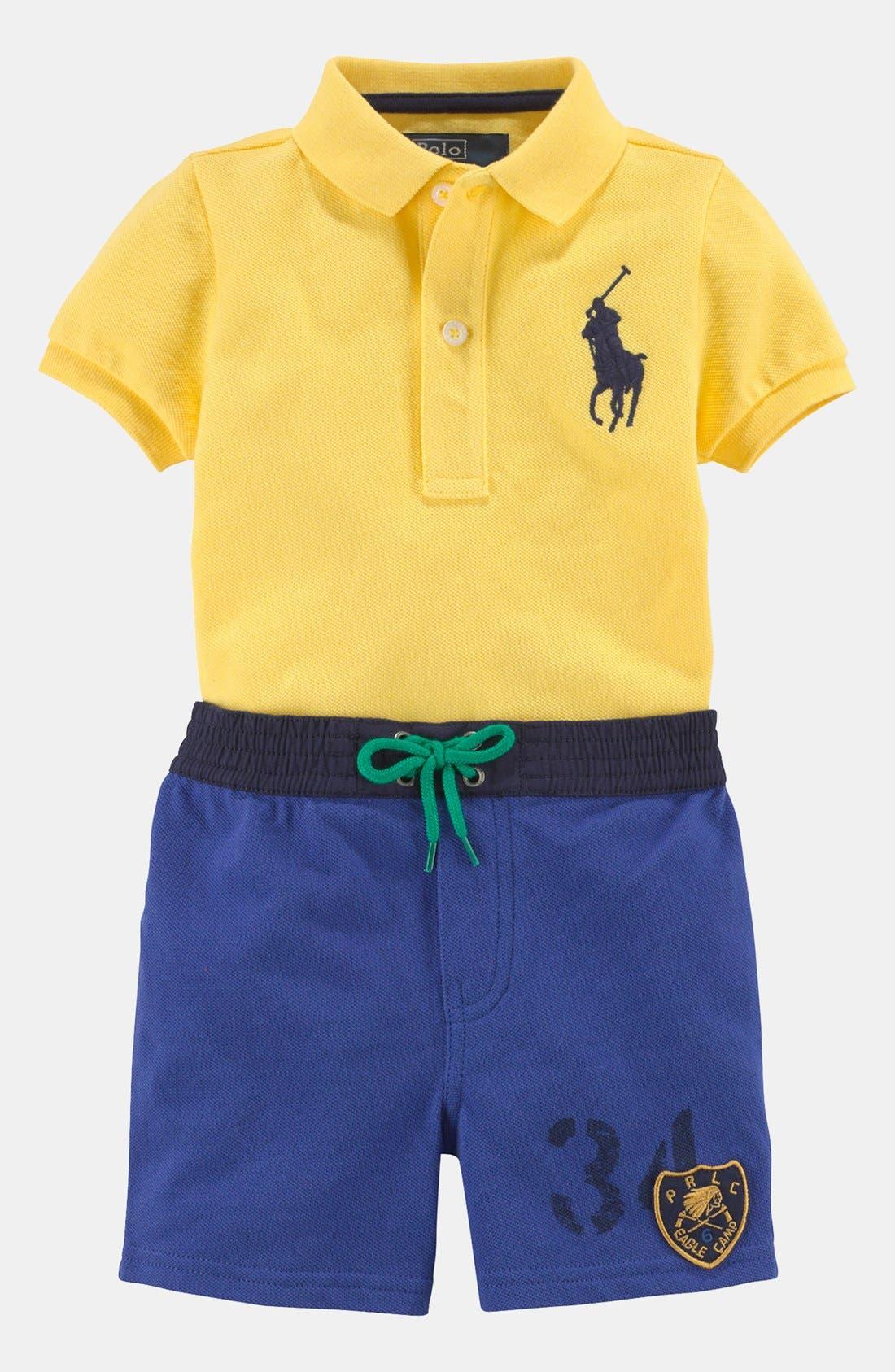 Alternate Image 2  - Ralph Lauren Colorblock Shirt & Shorts (Baby)