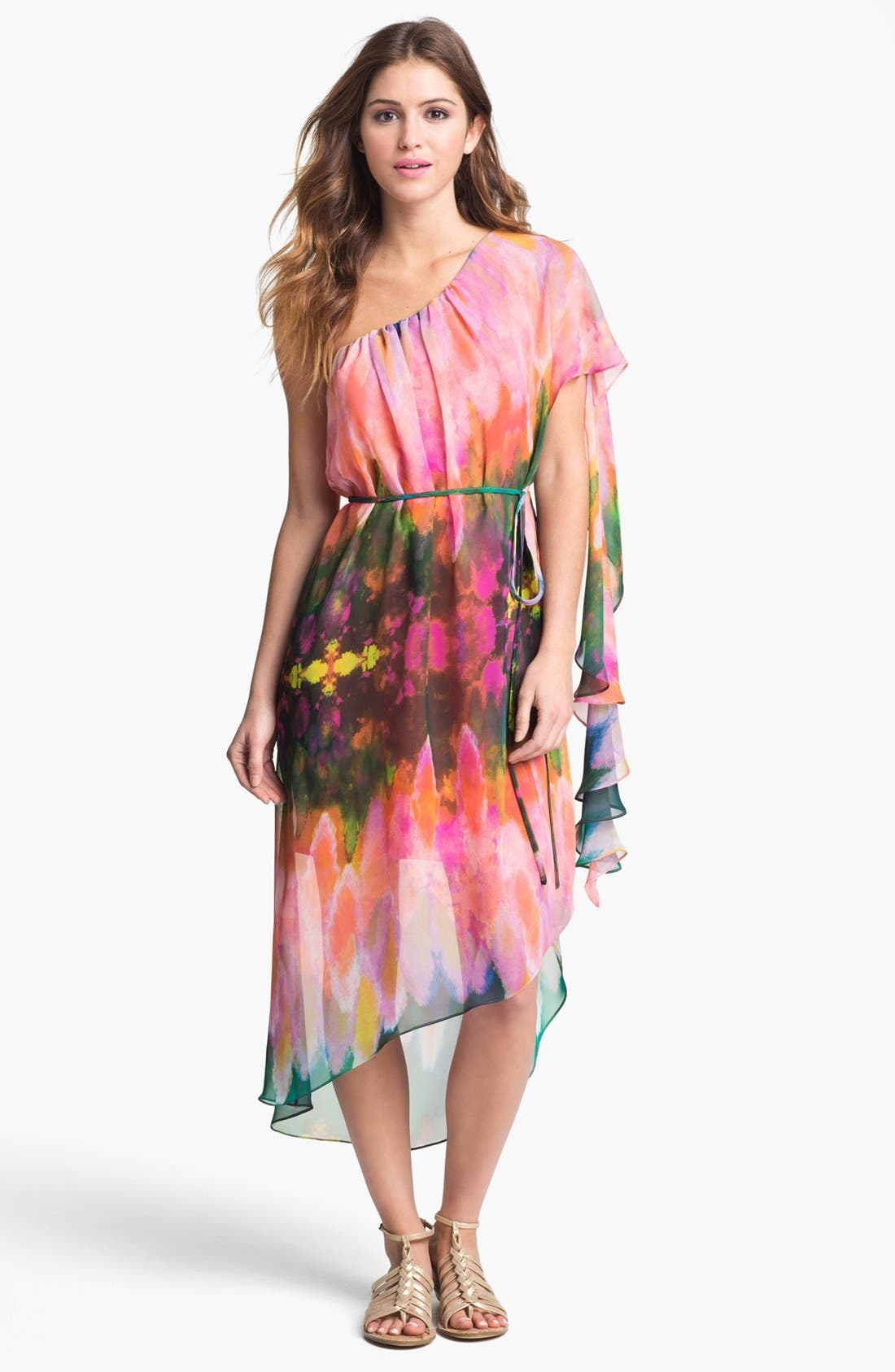 Main Image - Abi Ferrin 'Hera' One Shoulder Print Chiffon Dress