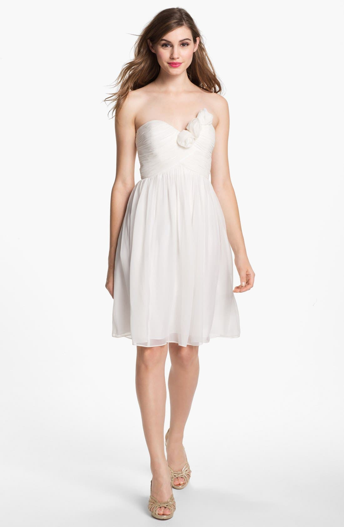 Alternate Image 1 Selected - Donna Morgan Strapless Rosette Detail Chiffon Dress