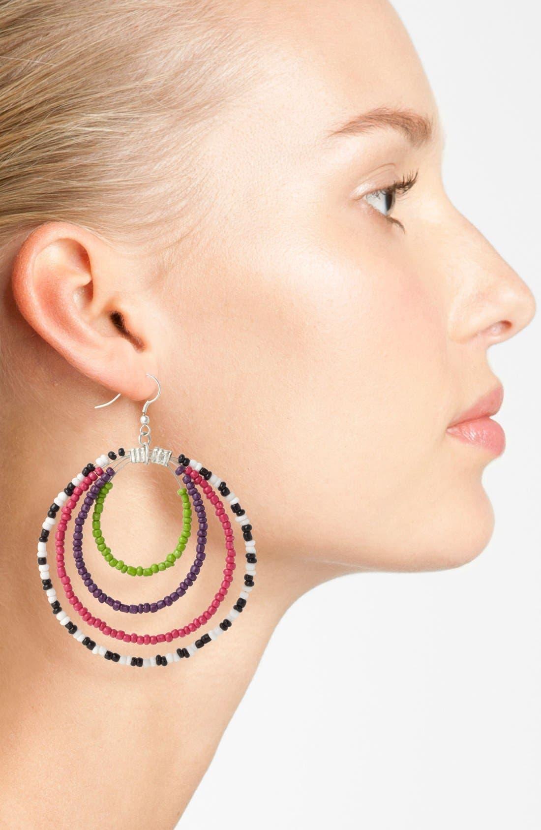 Alternate Image 2  - Spring Street Beaded Hoop Earrings