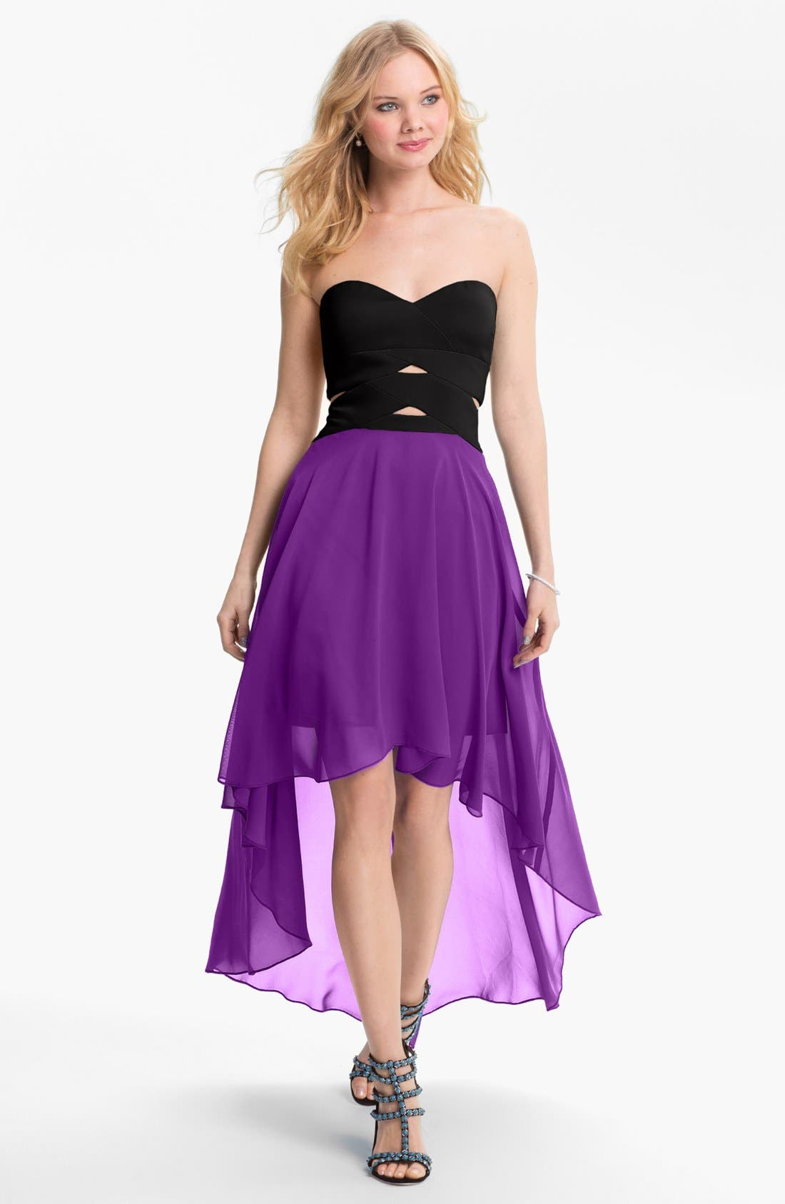 Main Image - Hailey by Adrianna Papell Strapless High/Low Dress (Online Only)