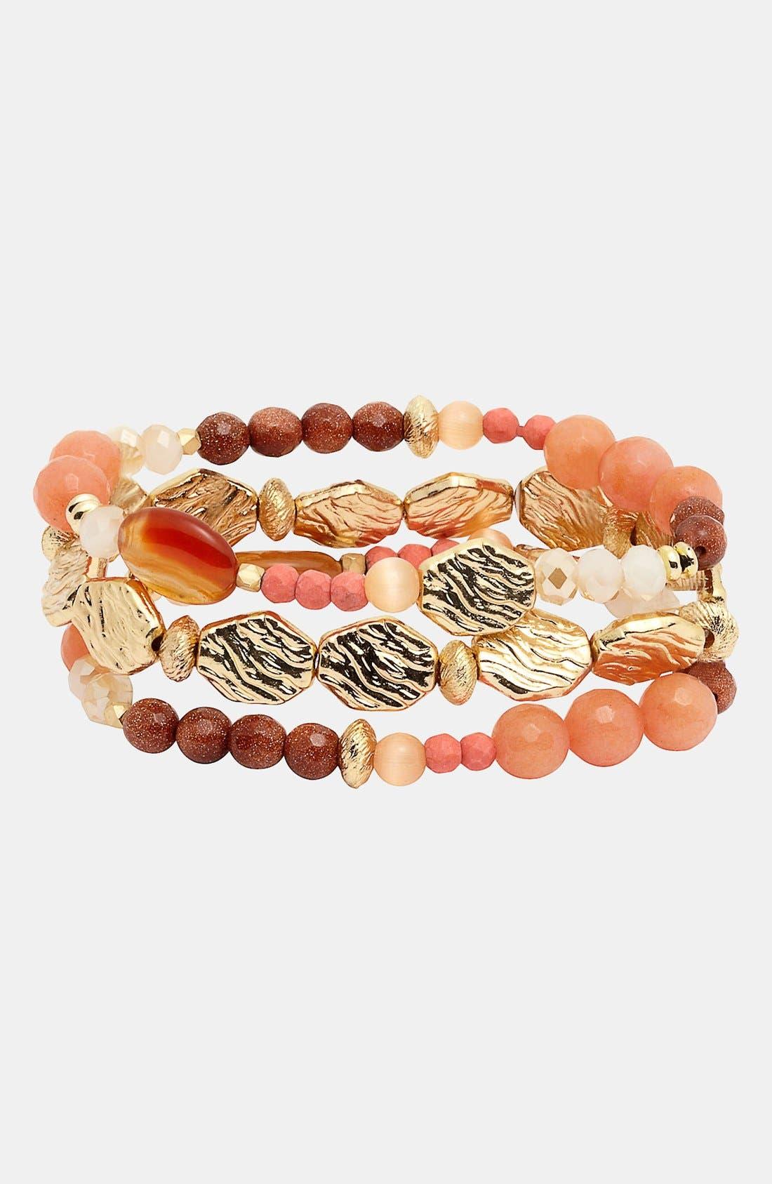 Alternate Image 1 Selected - Nordstrom 'Pebbles' Beaded Stretch Bracelets (Set of 3)