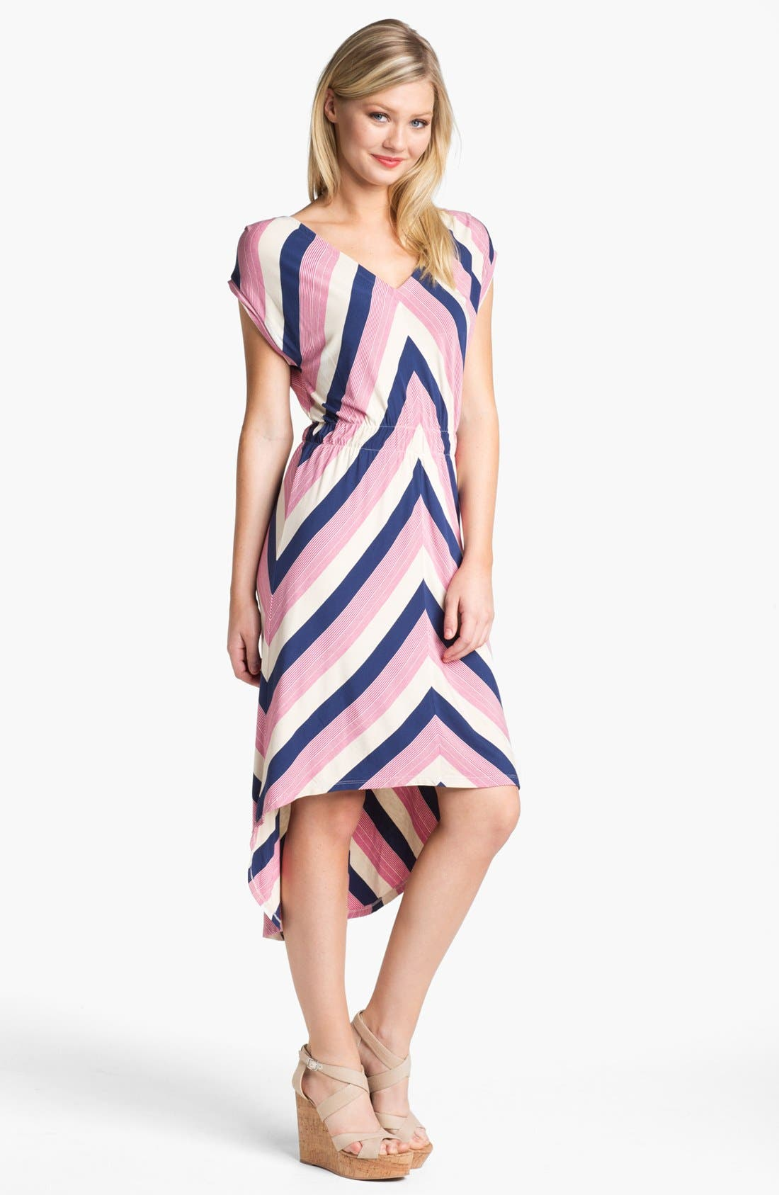 Stripe High/Low Midi Dress,                             Main thumbnail 1, color,                             Navy Pink And Oatmeal