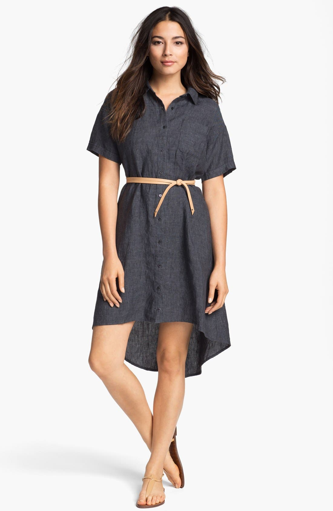 Alternate Image 1 Selected - Eileen Fisher High/Low Linen Shirtdress