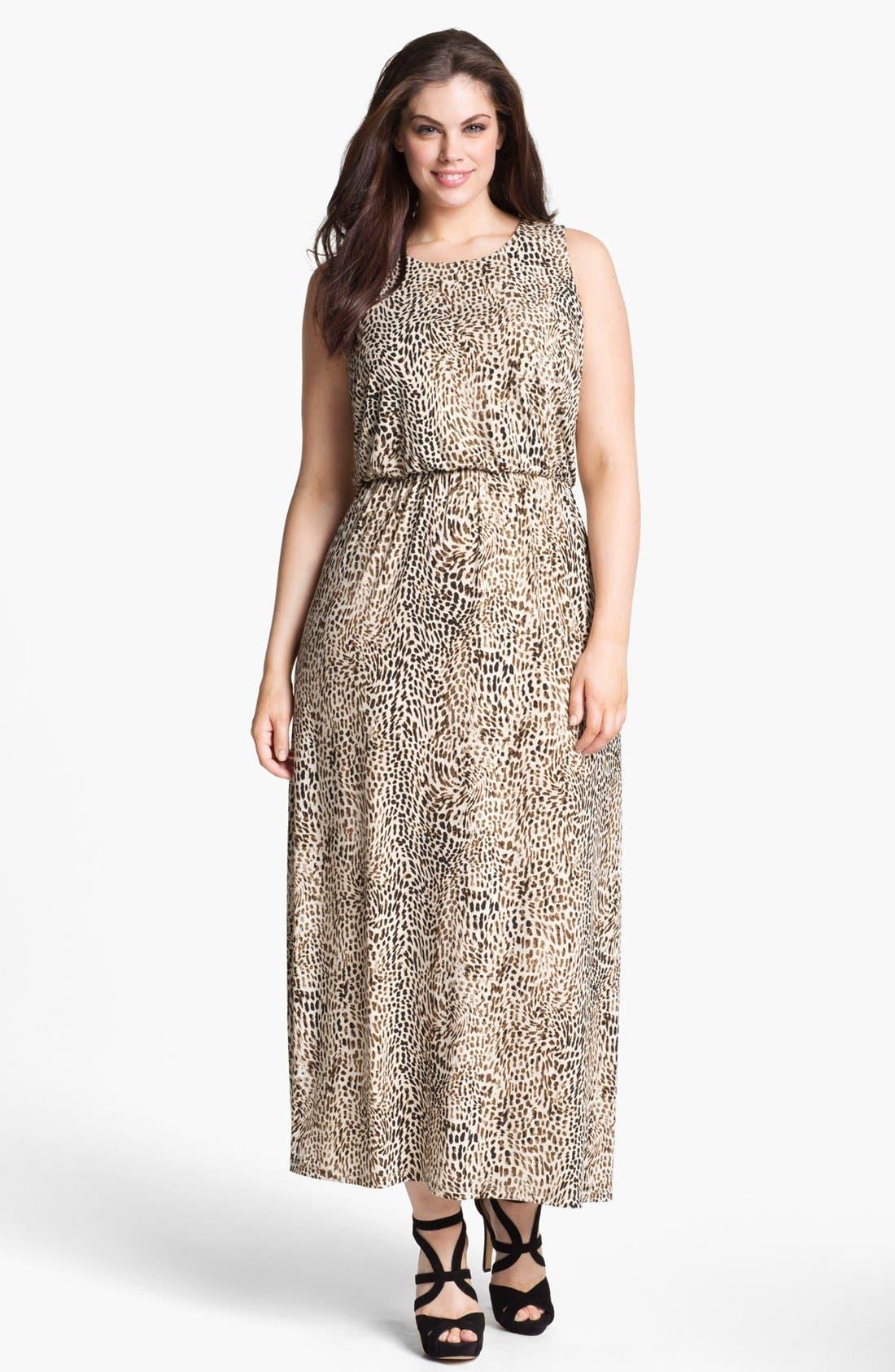 Main Image - Vince Camuto 'Rio' Cheetah Print Maxi Dress (Plus) (Online Only)