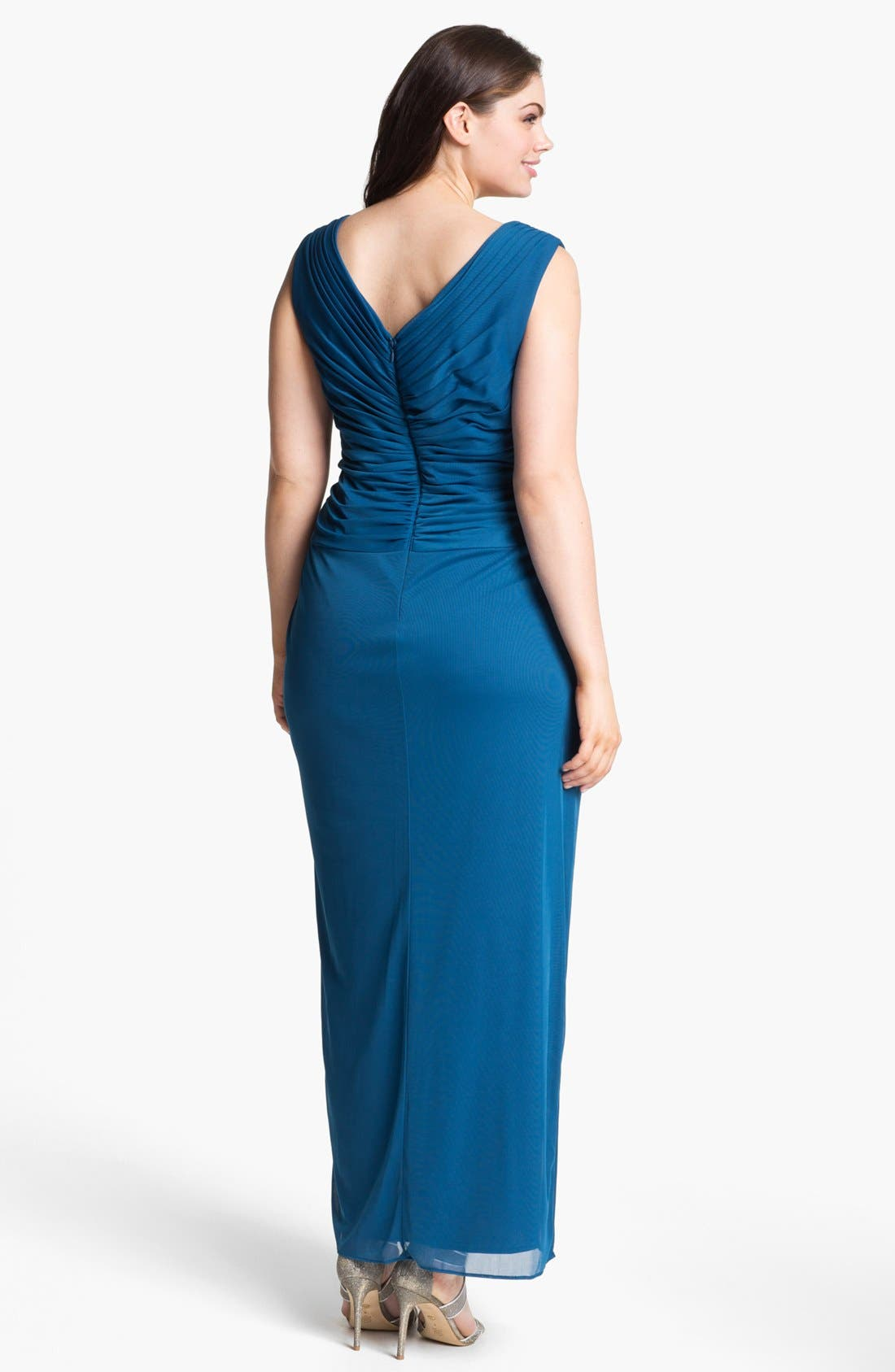 Alternate Image 2  - Alex Evenings Embellished Mesh Gown & Shawl (Plus Size)