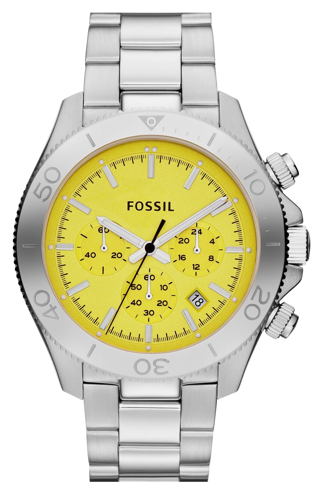 Main Image - Fossil 'Retro Traveler' Chronograph Bracelet Watch, 45mm
