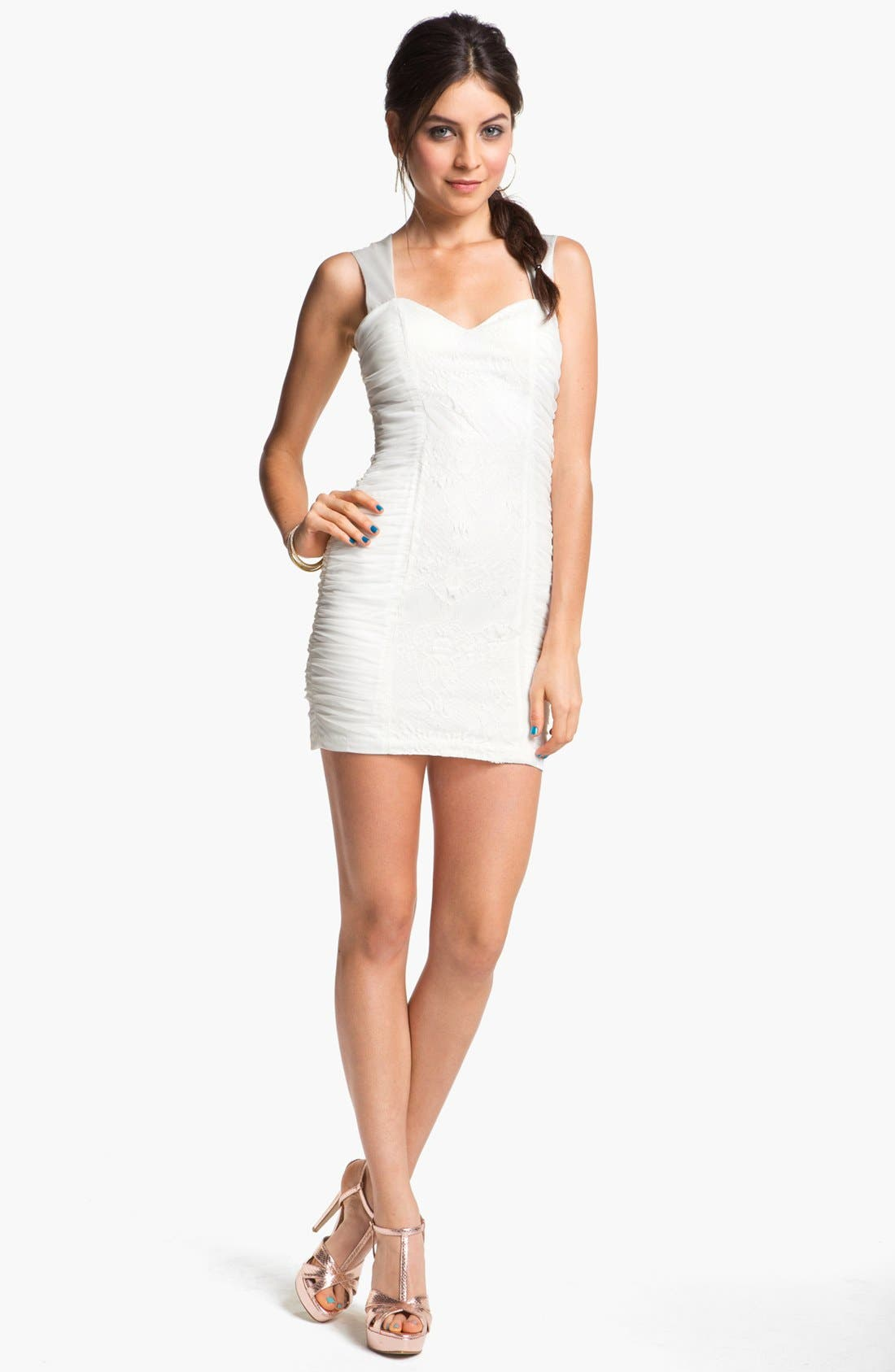 Main Image - Hailey Logan Lace Panel Body-Con Dress (Juniors) (Online Exclusive)
