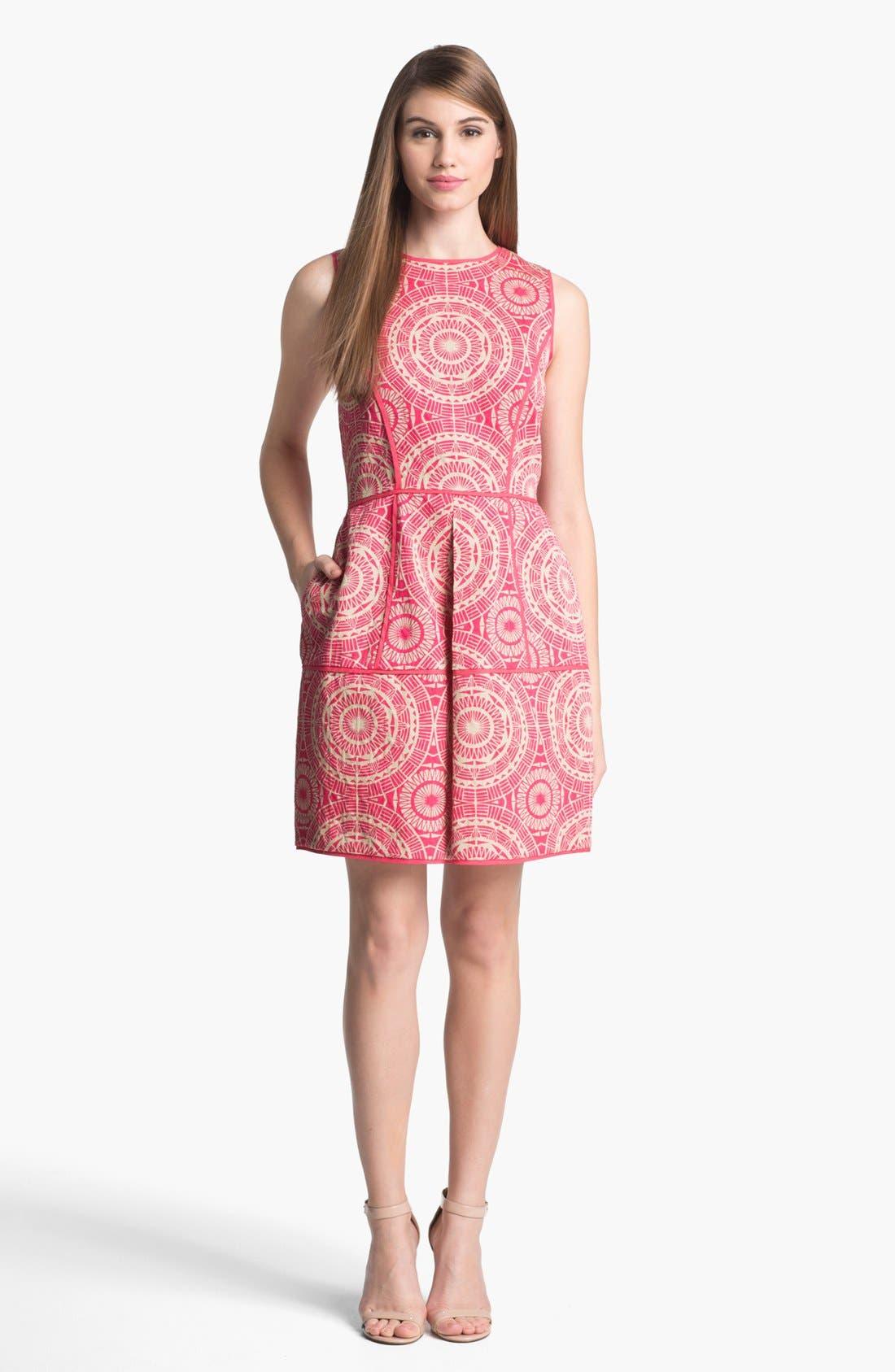 Alternate Image 1 Selected - Taylor Dresses Jacquard Fit & Flare Dress