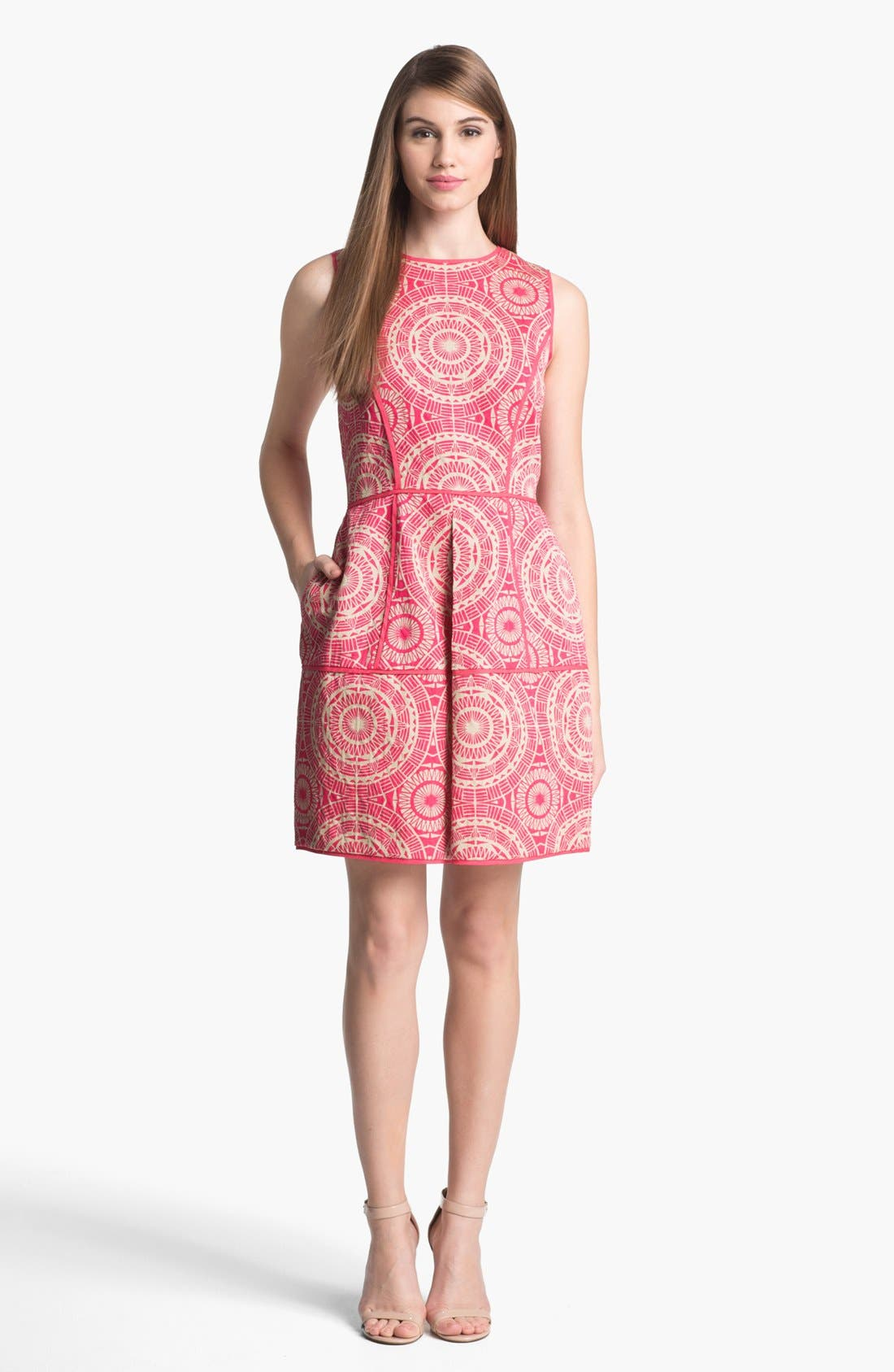 Main Image - Taylor Dresses Jacquard Fit & Flare Dress