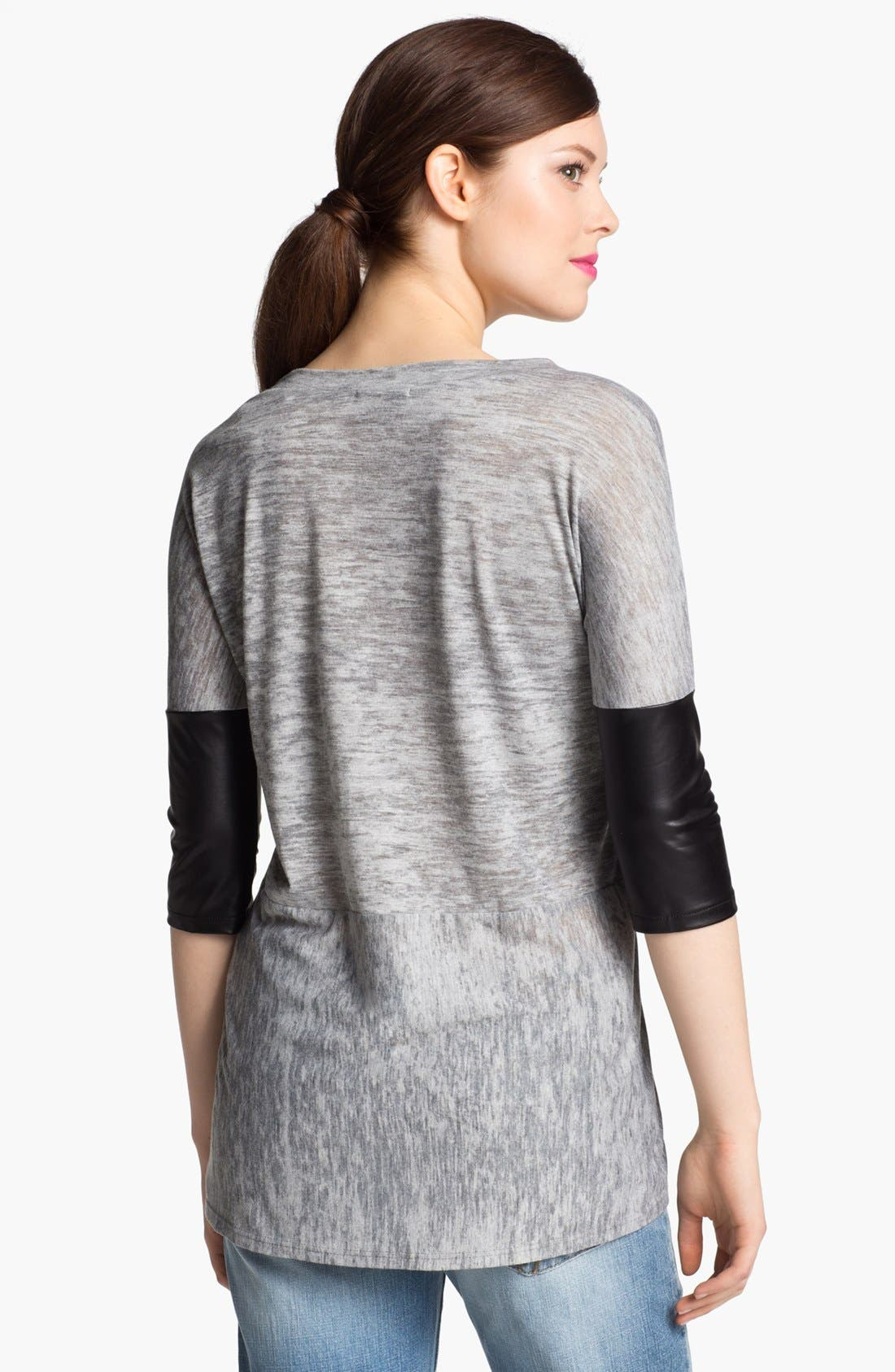 Alternate Image 2  - I.Ner Faux Leather Sleeve Slub Tee