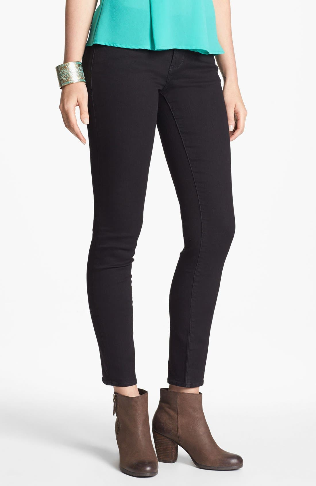 Alternate Image 1 Selected - Articles of Society 'Mya' Skinny Ankle Jeans (Black) (Juniors)(Online Only)