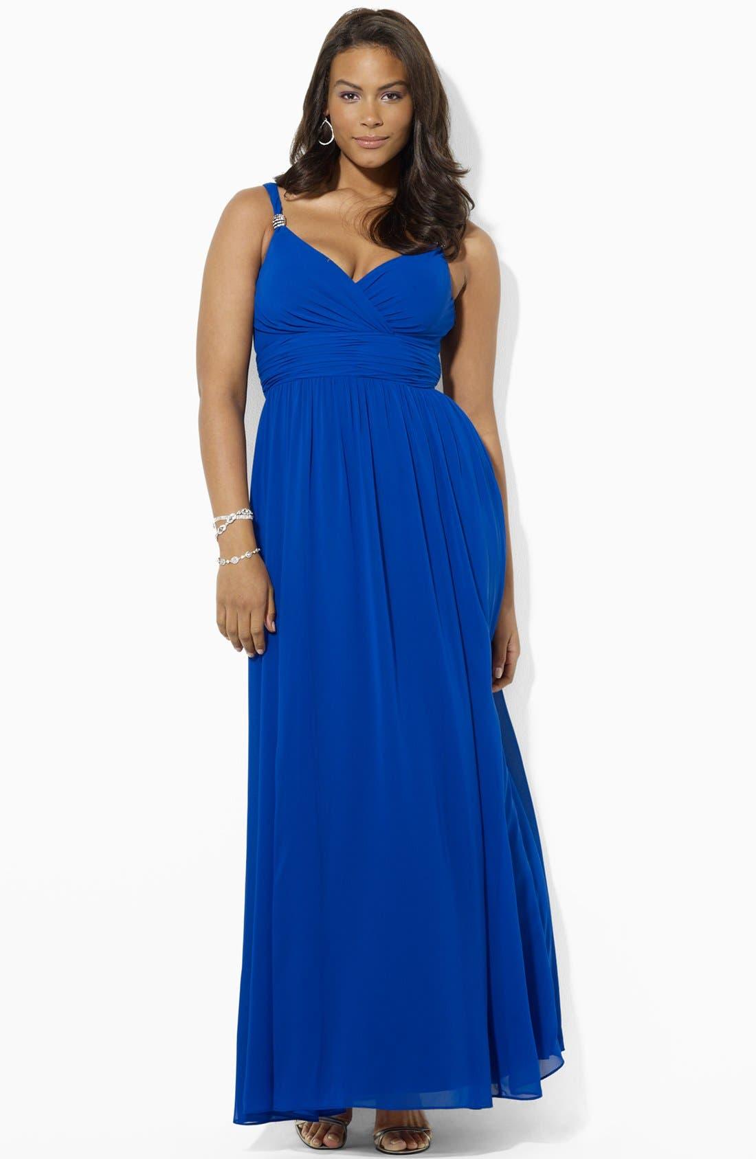Main Image - Lauren Ralph Lauren Embellished Surplice Chiffon Gown (Plus Size)