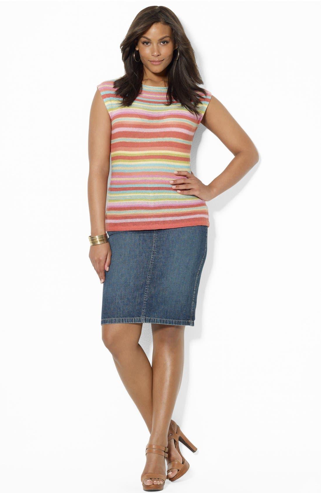 Alternate Image 3  - Lauren Ralph Lauren Drop Shoulder Knit Top (Plus Size)