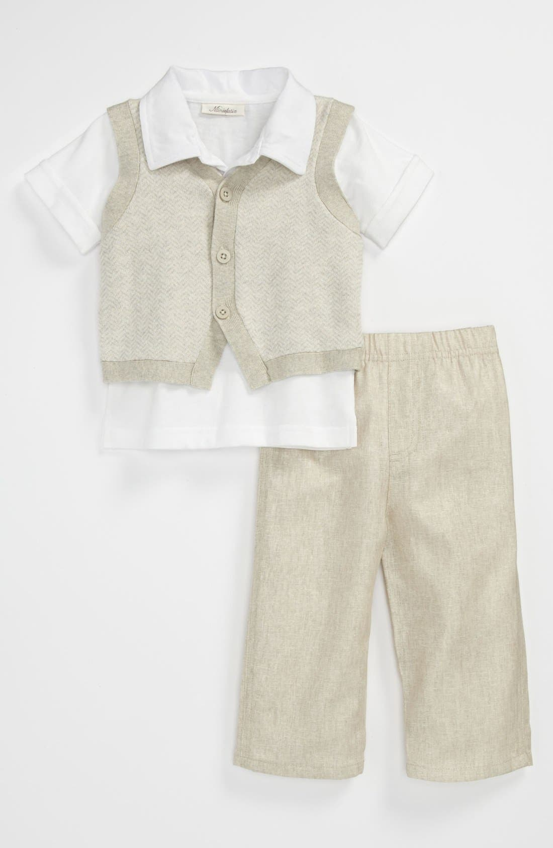 Main Image - Miniclasix Sweater Vest, Polo & Pants (Baby)