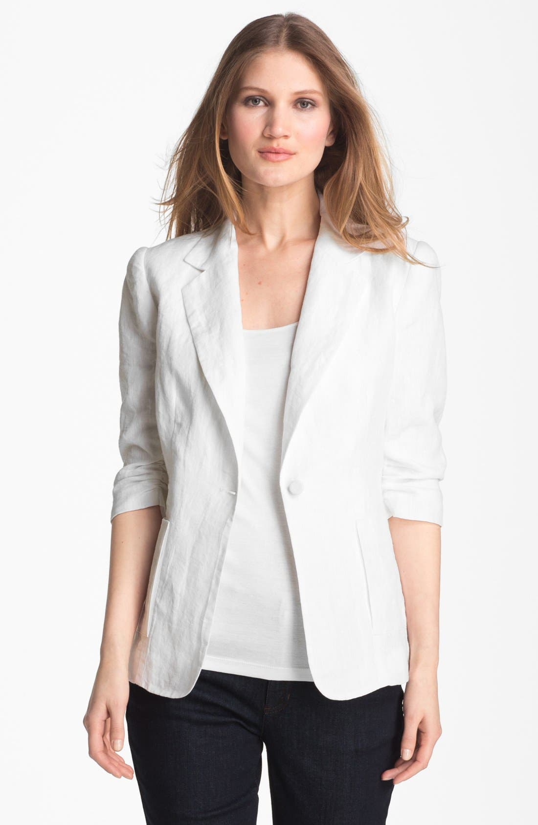 Alternate Image 1 Selected - Alberto Makali Ruched Sleeve Linen Jacket