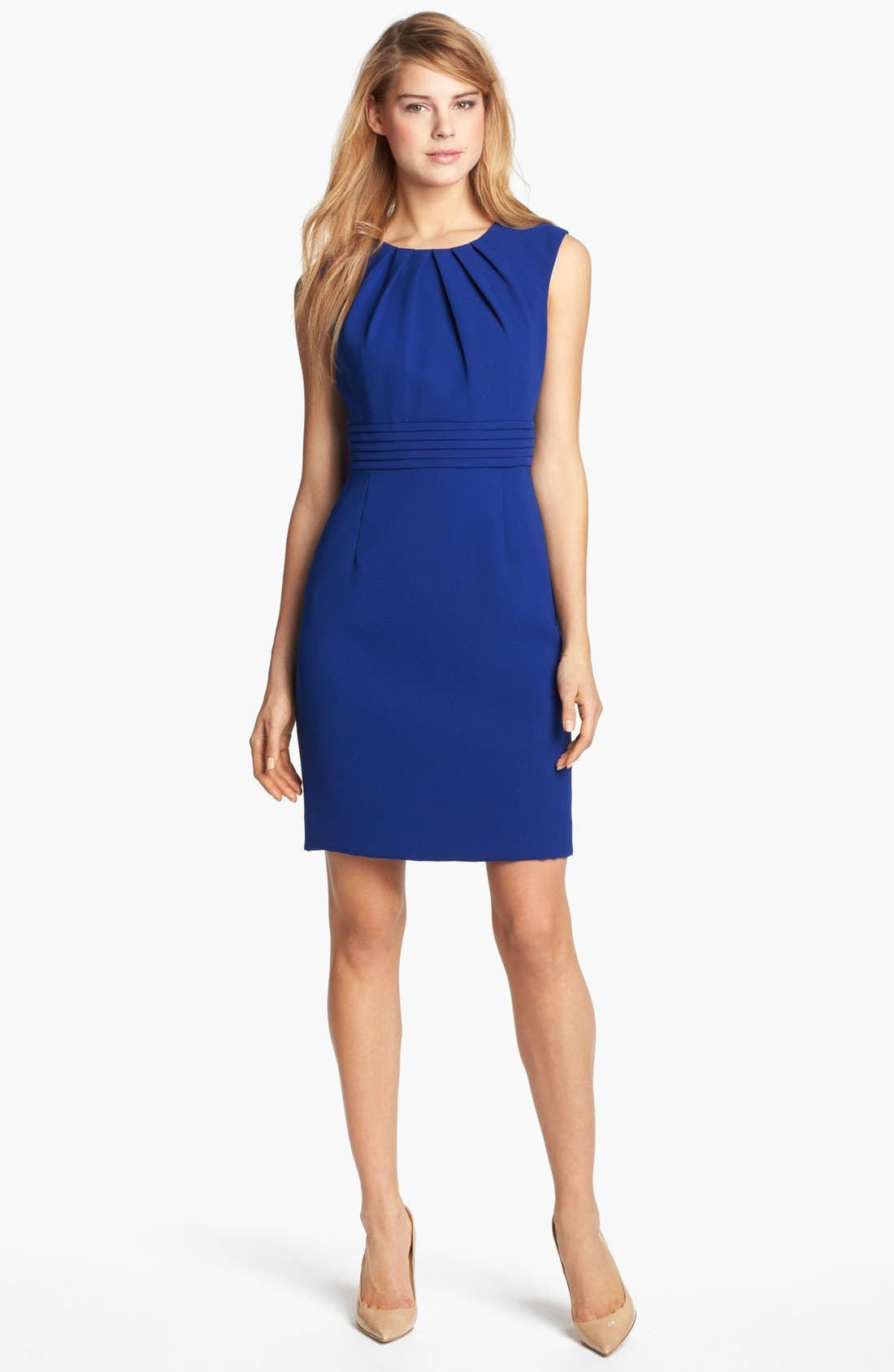 Alternate Image 1 Selected - Tahari by Arthur S. Levine Sleeveless Crepe Sheath Dress (Regular & Petite)
