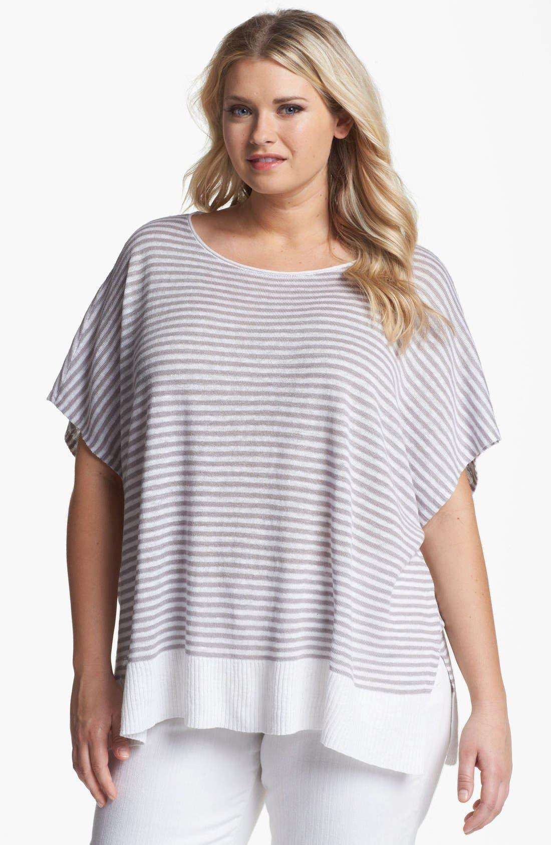 Main Image - Eileen Fisher Stripe Linen Top (Plus Size)