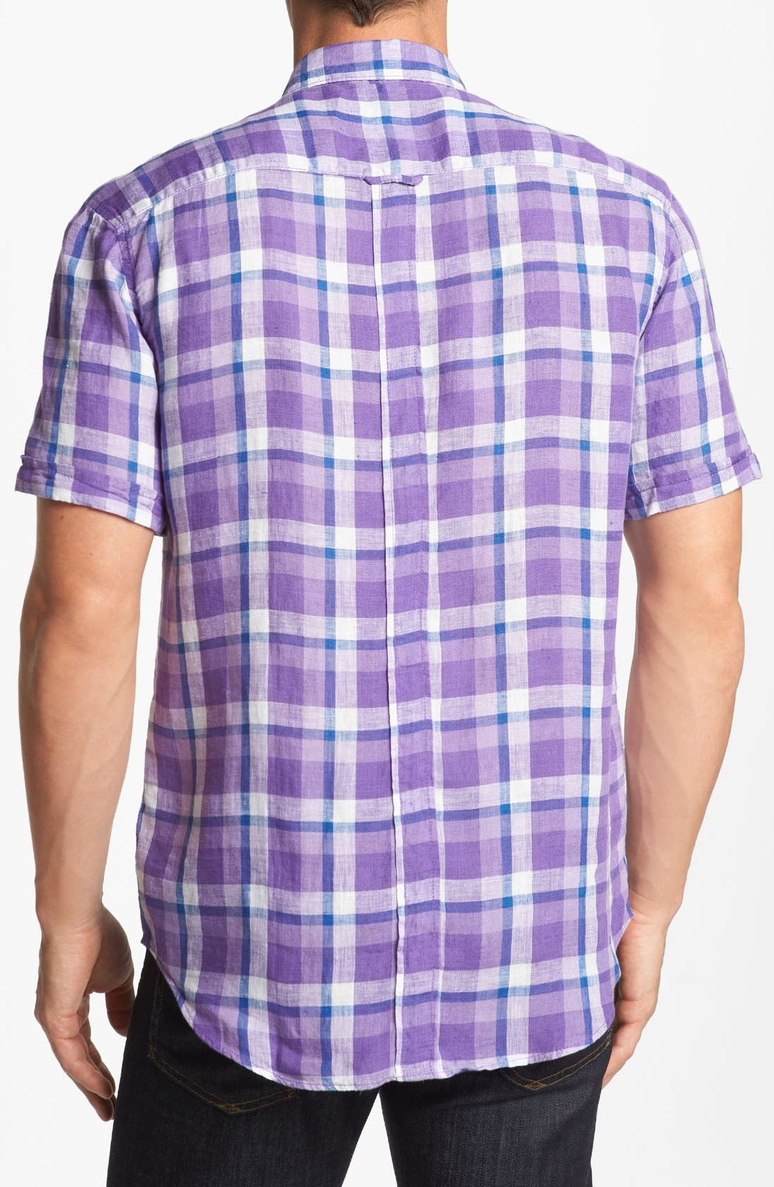 Alternate Image 2  - Bugatchi Short Sleeve Shaped Fit Sport Shirt