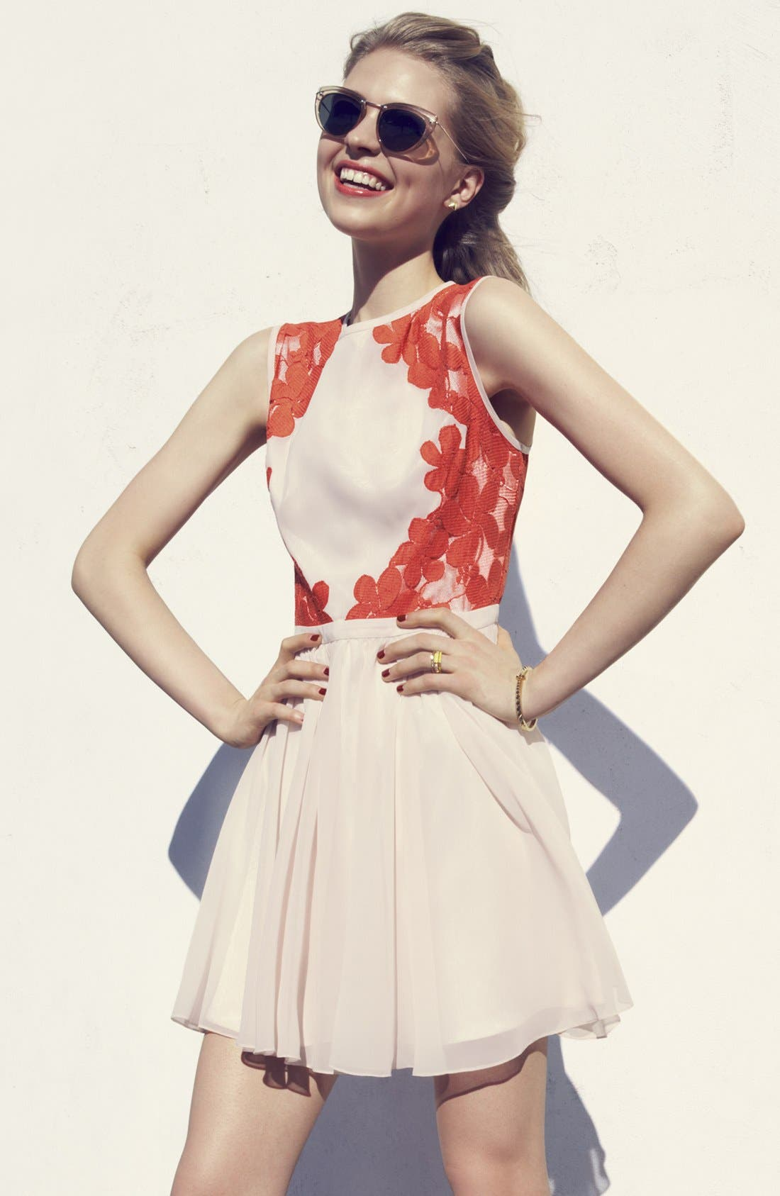 Alternate Image 4  - Ted Baker London Mixed Media Fit & Flare Dress
