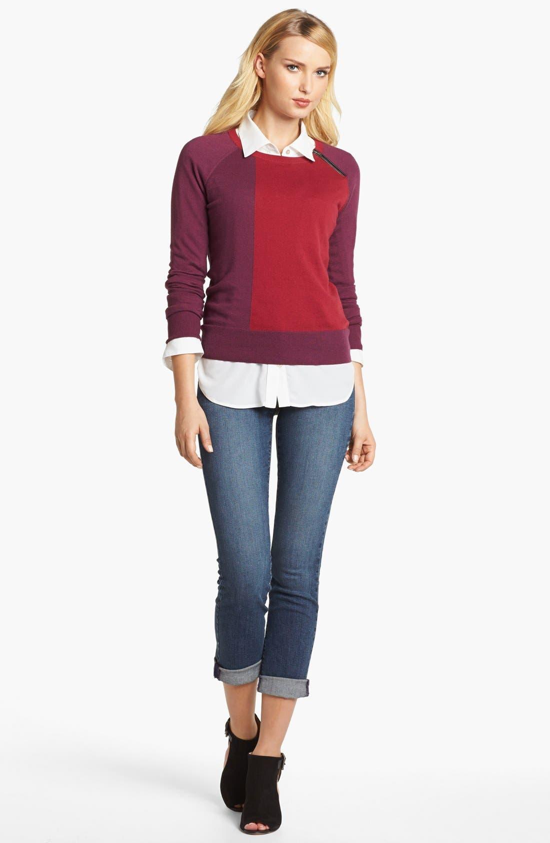 Alternate Image 3  - Amber Sun Zip Trim Colorblock Crewneck Sweater