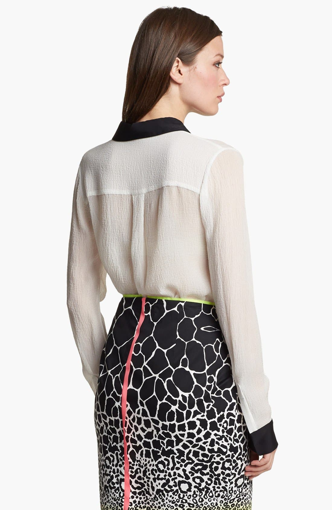 Alternate Image 2  - Elie Tahari 'Chelsea' Seersucker Silk Blouse