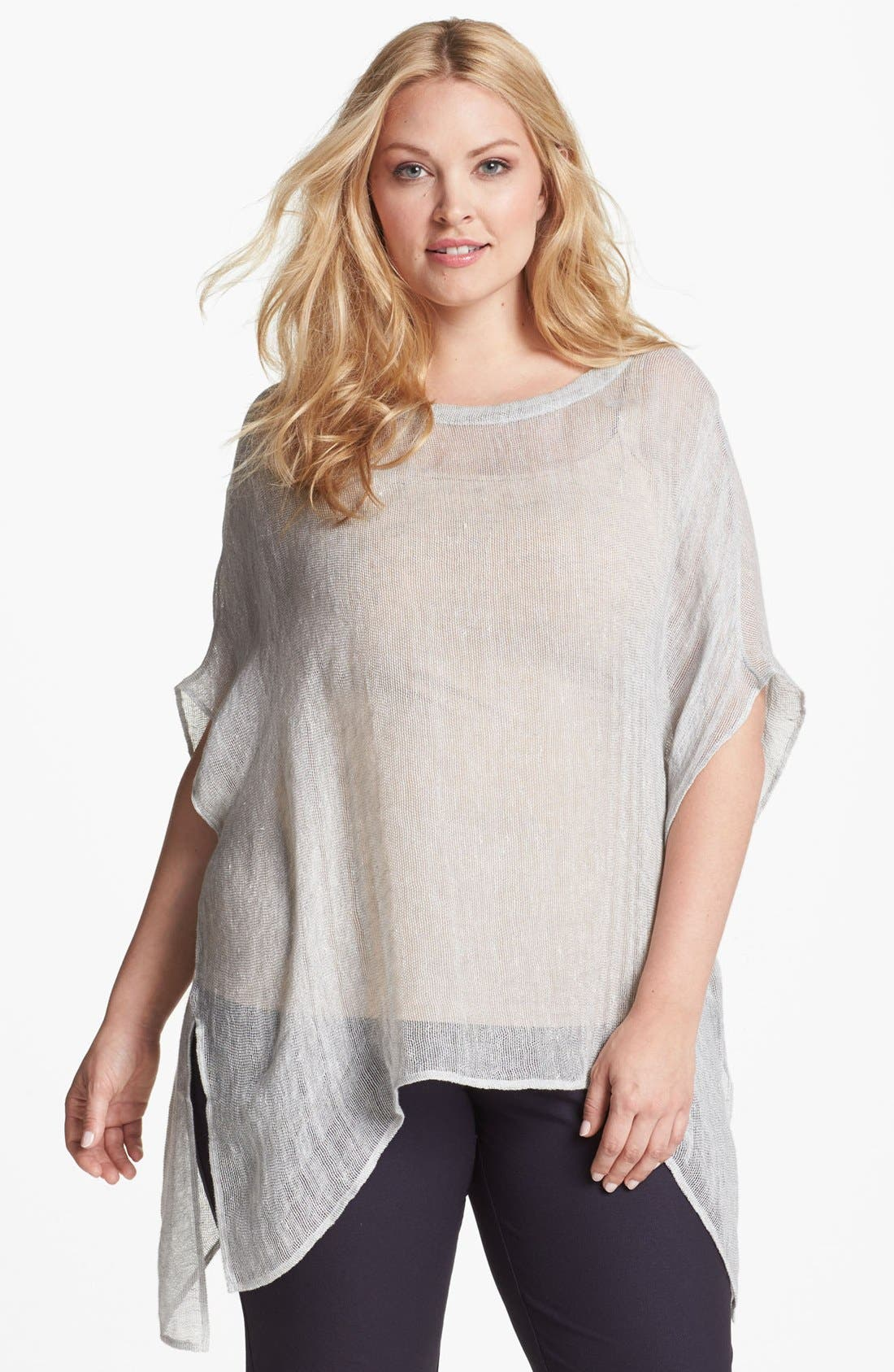 Main Image - Eileen Fisher Ballet Neck Sheer Tunic (Plus Size)