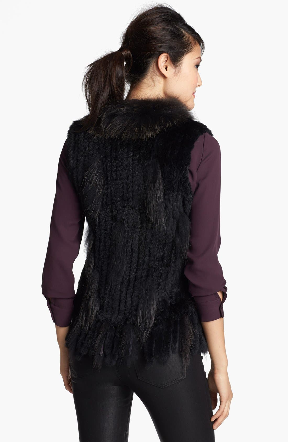Genuine Rabbit & Raccoon Fur Vest,                             Alternate thumbnail 2, color,                             Black