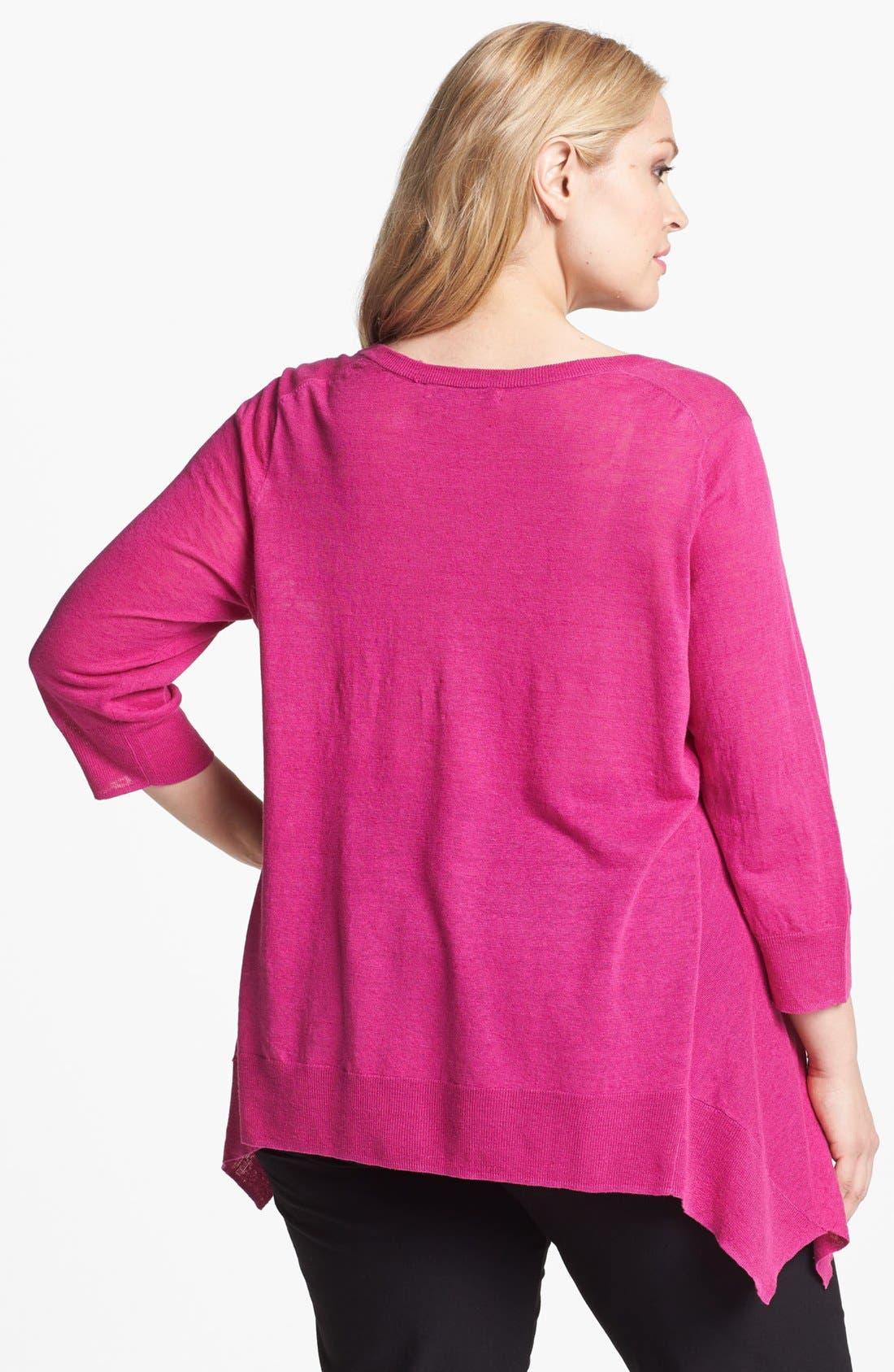 Alternate Image 2  - Sejour Three Quarter Sleeve Sweater (Plus Size)