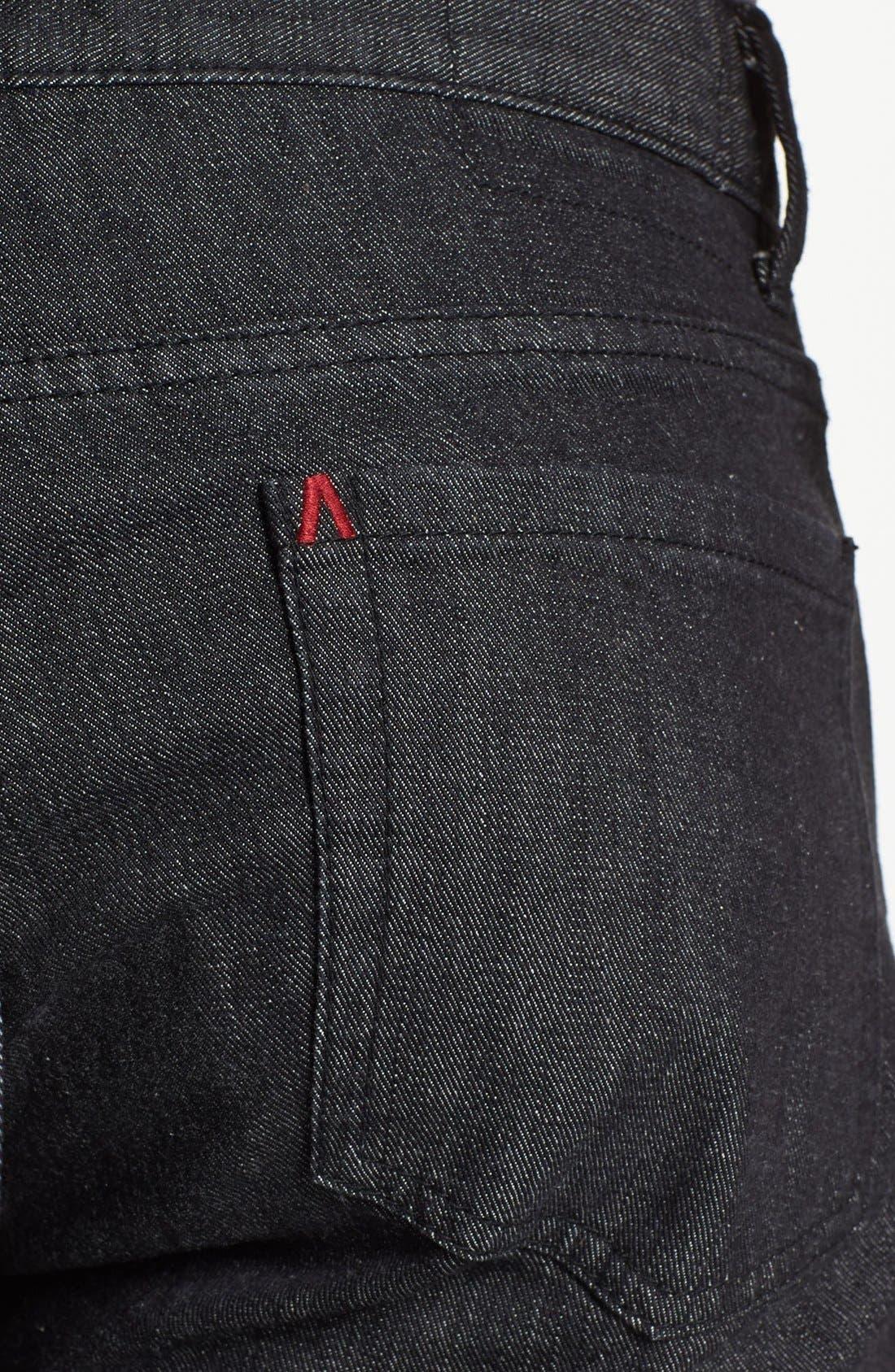 Alternate Image 4  - RVCA Slim Straight Leg Jeans (Black)