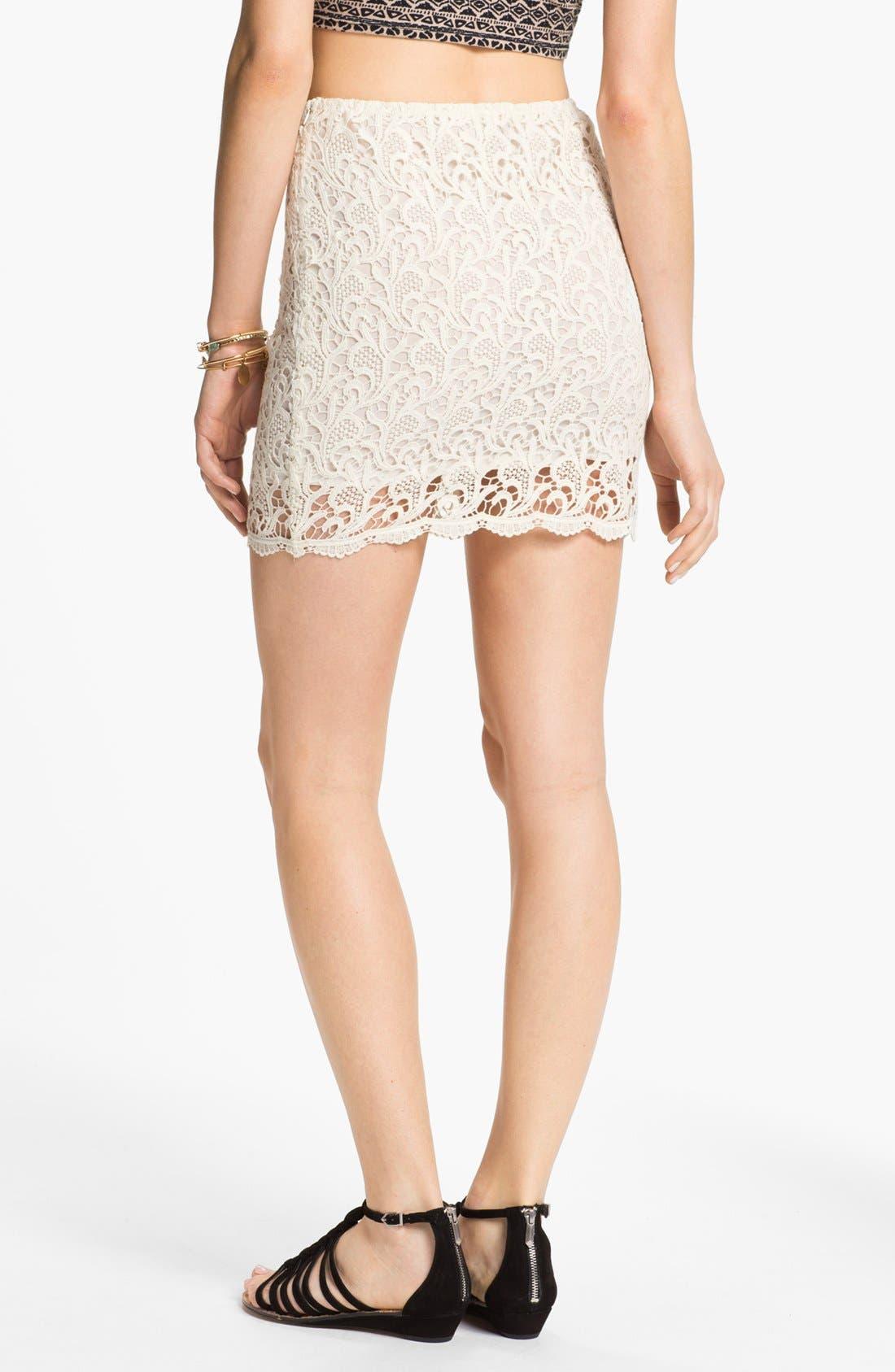Alternate Image 2  - Blu Pepper Paisley Lace Miniskirt (Juniors)