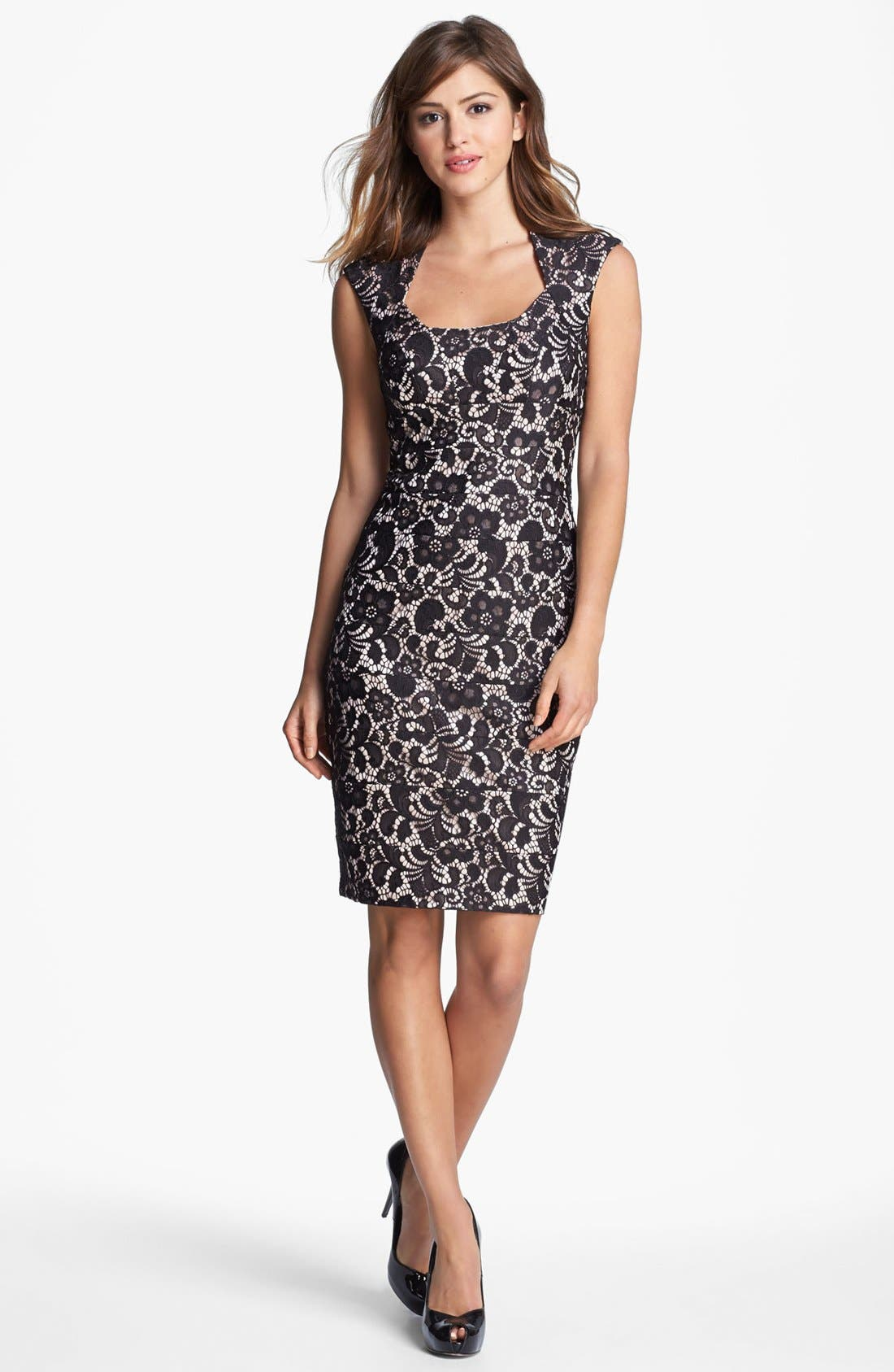 Main Image - JAX Cap Sleeve Lace Sheath Dress