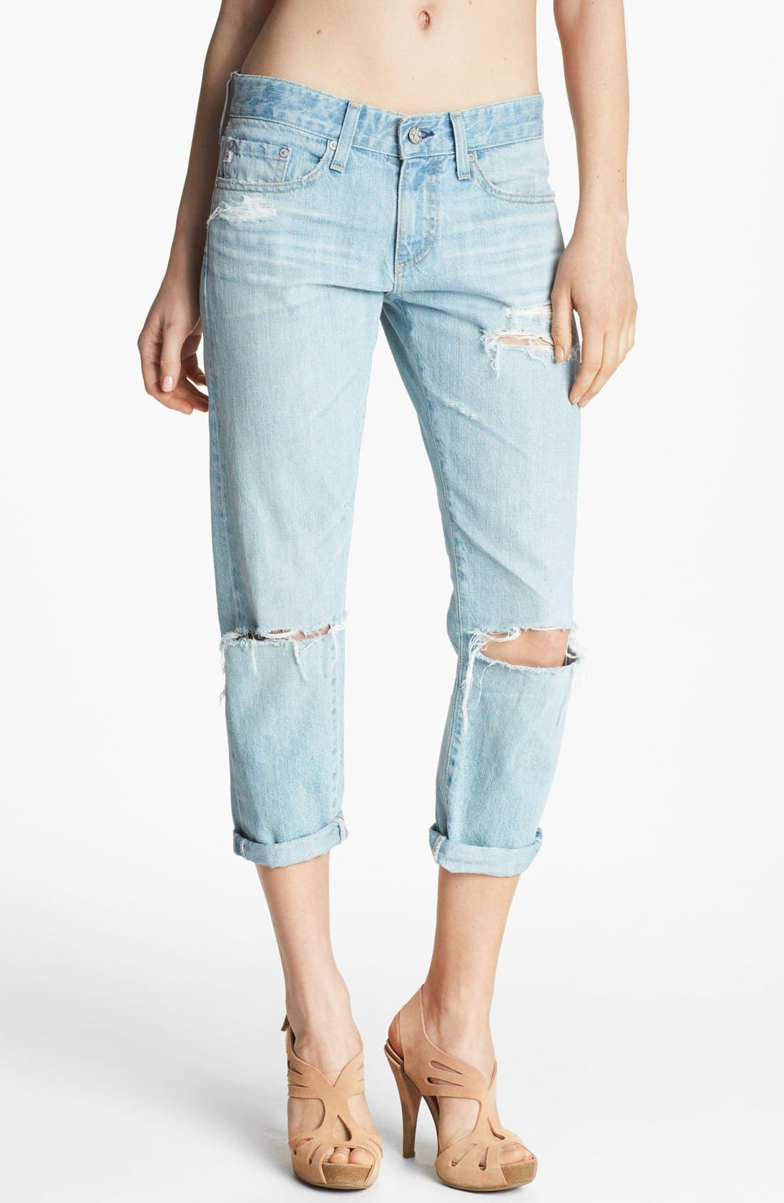 Alternate Image 1 Selected - AG Jeans 'Piper' Distressed Crop Jeans (26 Year Thrasher)