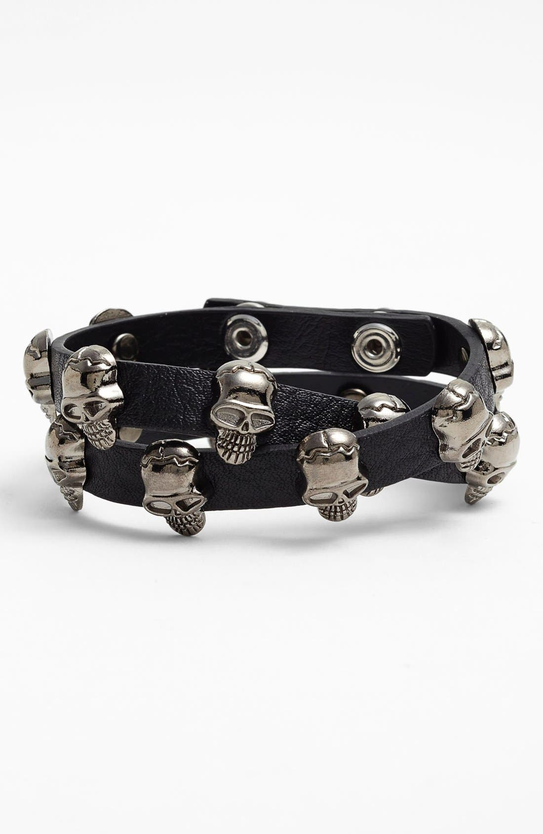 Alternate Image 1 Selected - Natasha Couture 'Skull' Double Wrap Bracelet