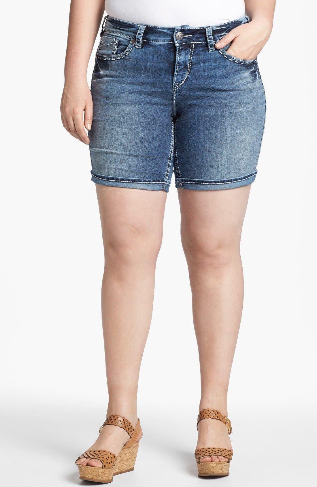 Alternate Image 1 Selected - Silver Jeans Co. 'McKenzie' Denim Shorts (Juniors Plus)