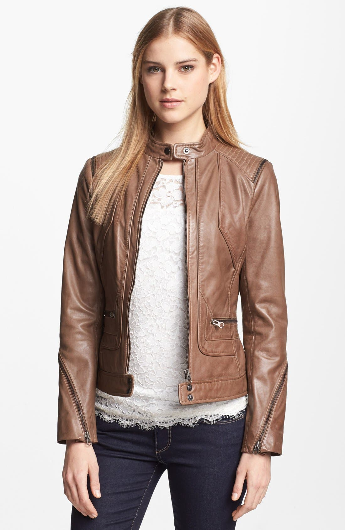 Alternate Image 1 Selected - Bernardo Zip Trim Leather Scuba Jacket (Regular & Petite)