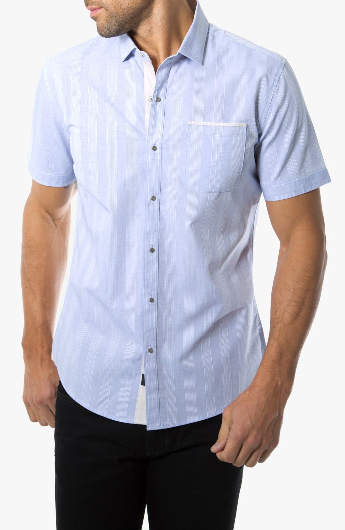 Alternate Image 1 Selected - 7 Diamonds 'Hilltop Party' Striped Woven Short Sleeve Shirt
