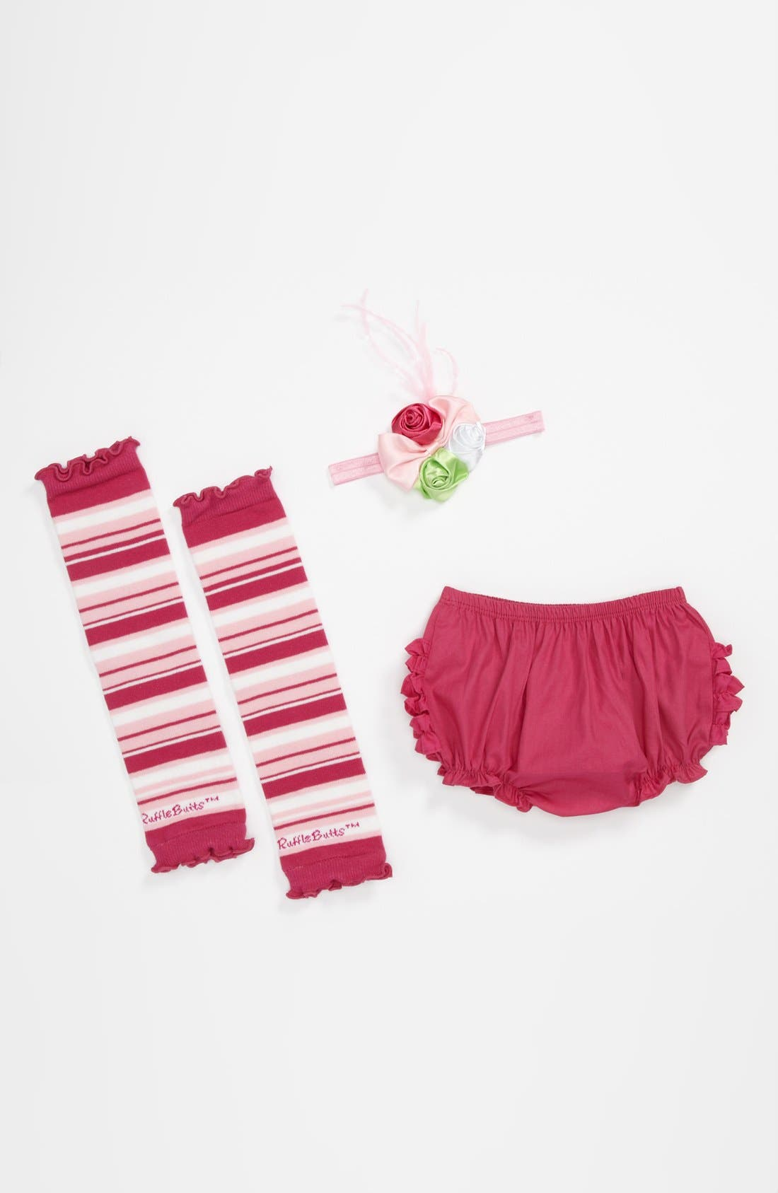 Alternate Image 1 Selected - RuffleButts Headband, Leg Warmers & Bloomers (Baby Girls)
