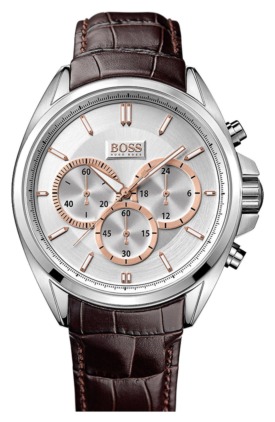 Alternate Image 1 Selected - BOSS HUGO BOSS Round Chronograph Watch, 46mm