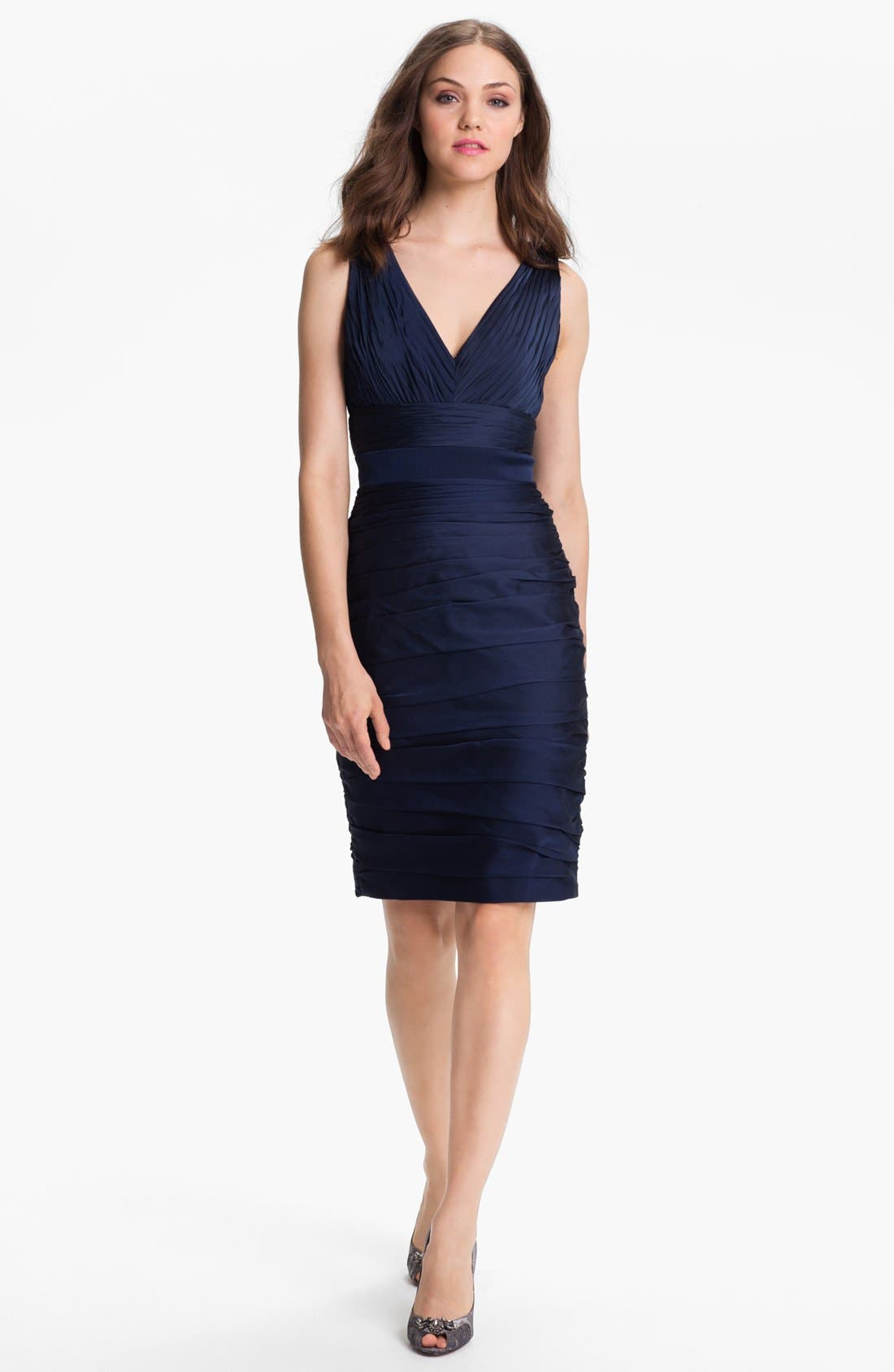 Main Image - ML Monique Lhuillier Bridesmaids V-Neck Ruched Chiffon Sheath Dress (Nordstrom Exclusive)