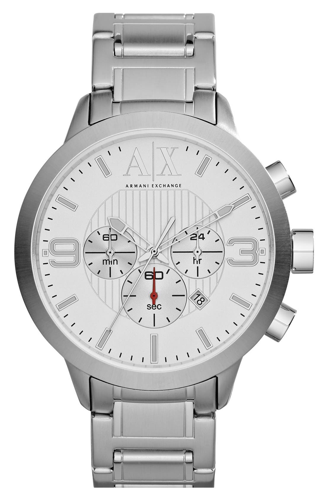 Main Image - AX Armani Exchange Round Chronograph Bracelet Watch, 47mm