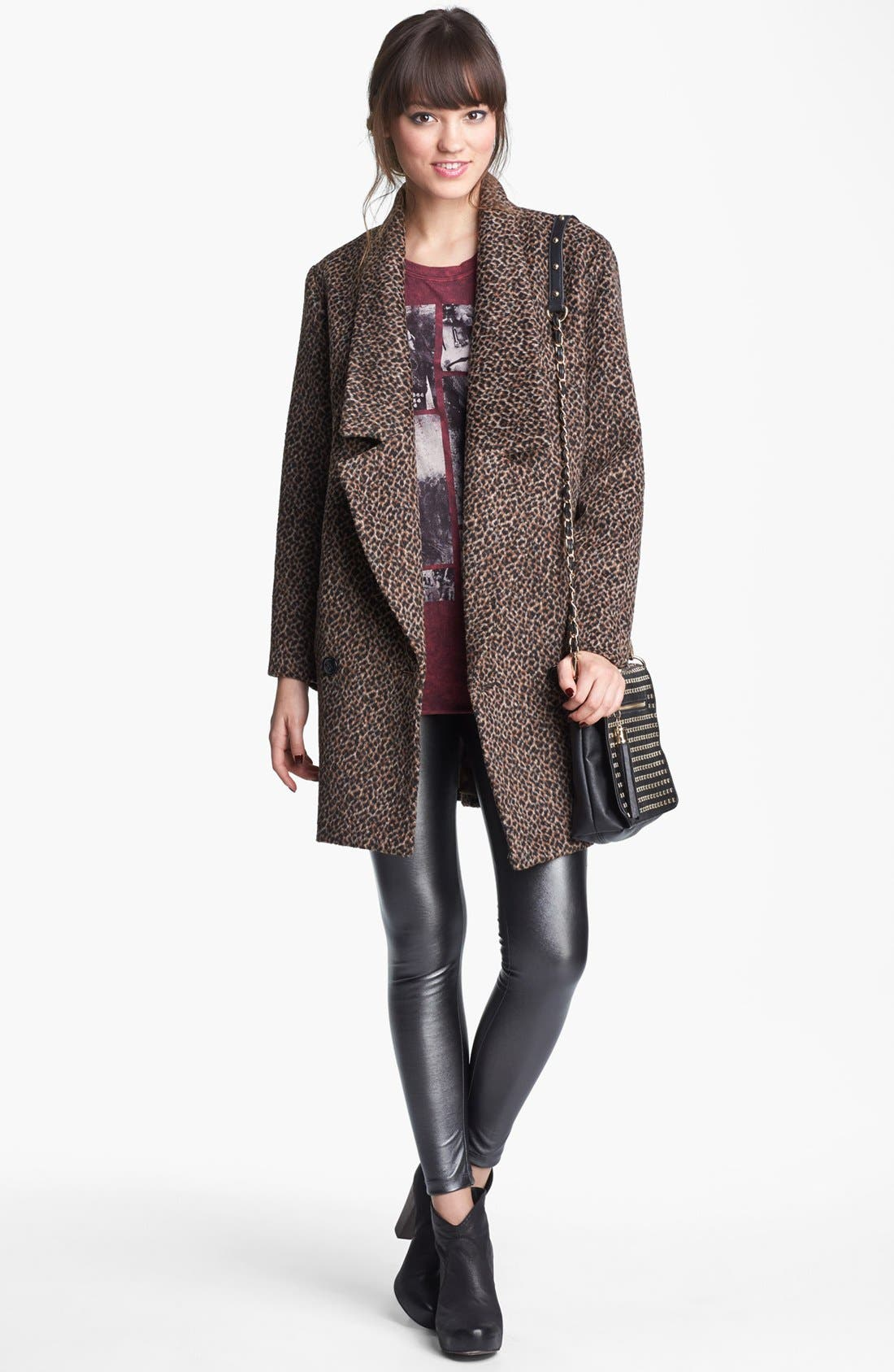 Alternate Image 4  - Tulle Animal Print Oversized Collar Coat (Juniors) (Online Only)