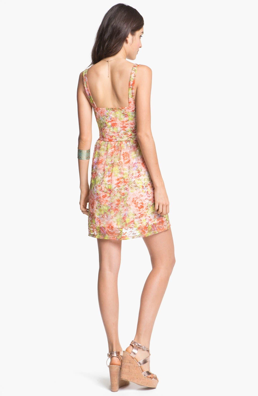Alternate Image 2  - As U Wish Lace Bustier Skater Dress (Juniors) (Online Only)