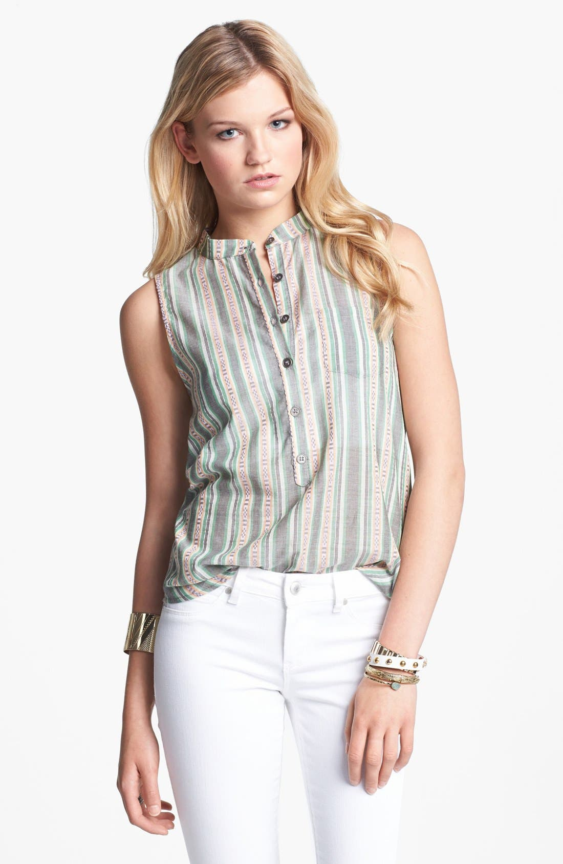 Alternate Image 1 Selected - Lily White Print Sleeveless Henley Shirt (Juniors)