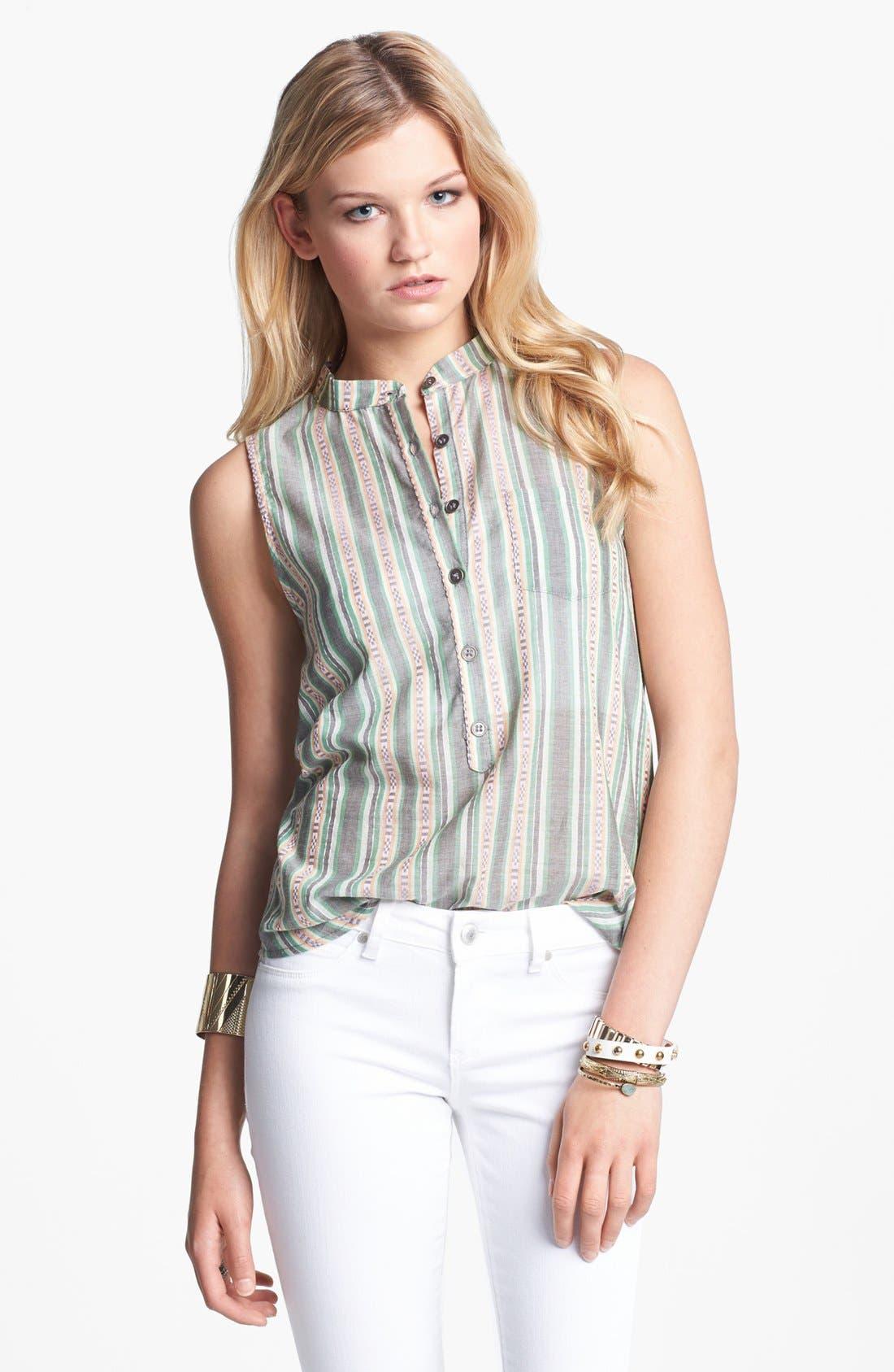 Main Image - Lily White Print Sleeveless Henley Shirt (Juniors)