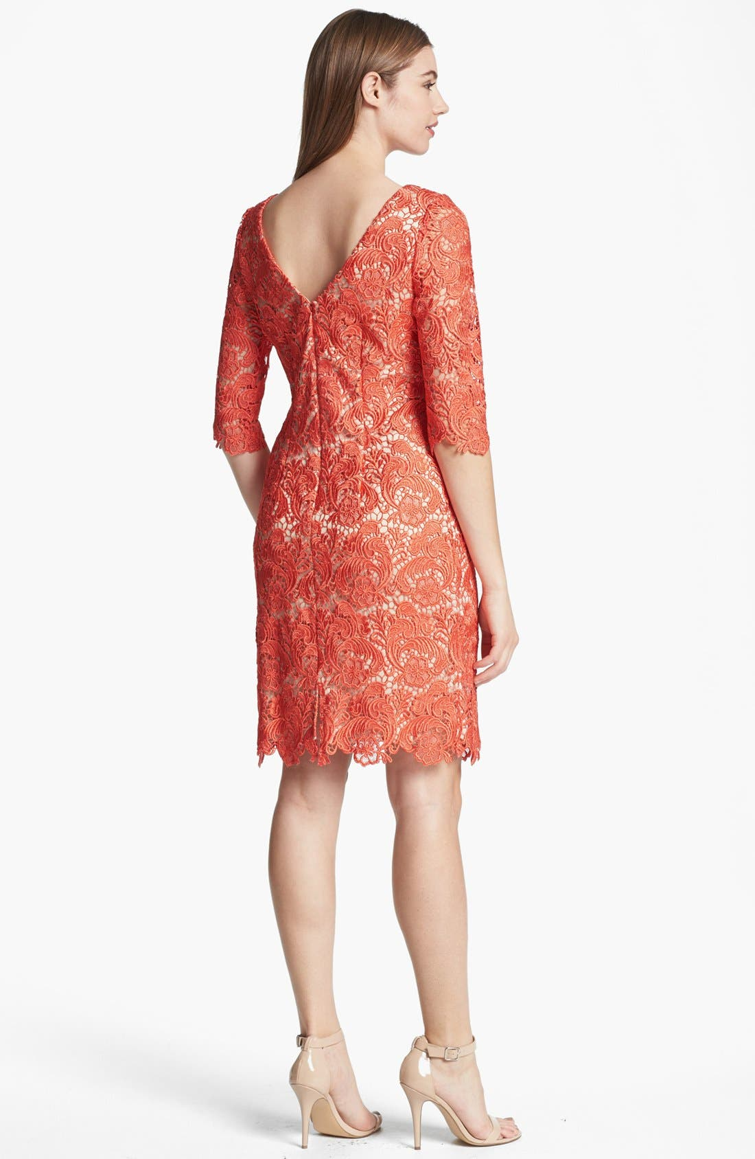 Alternate Image 2  - Eliza J Embroidered Lace Overlay Sheath Dress (Regular & Petite)