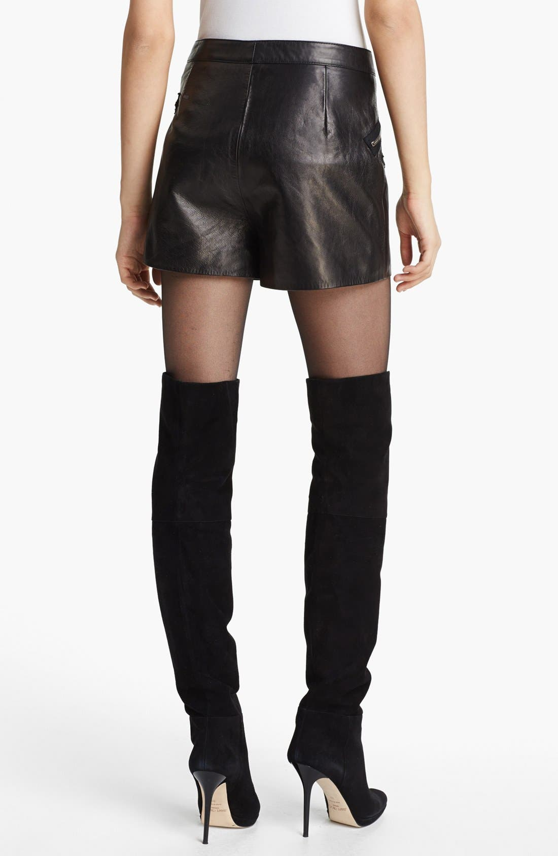 Multi Zip Leather Shorts,                             Alternate thumbnail 2, color,                             Charcoal