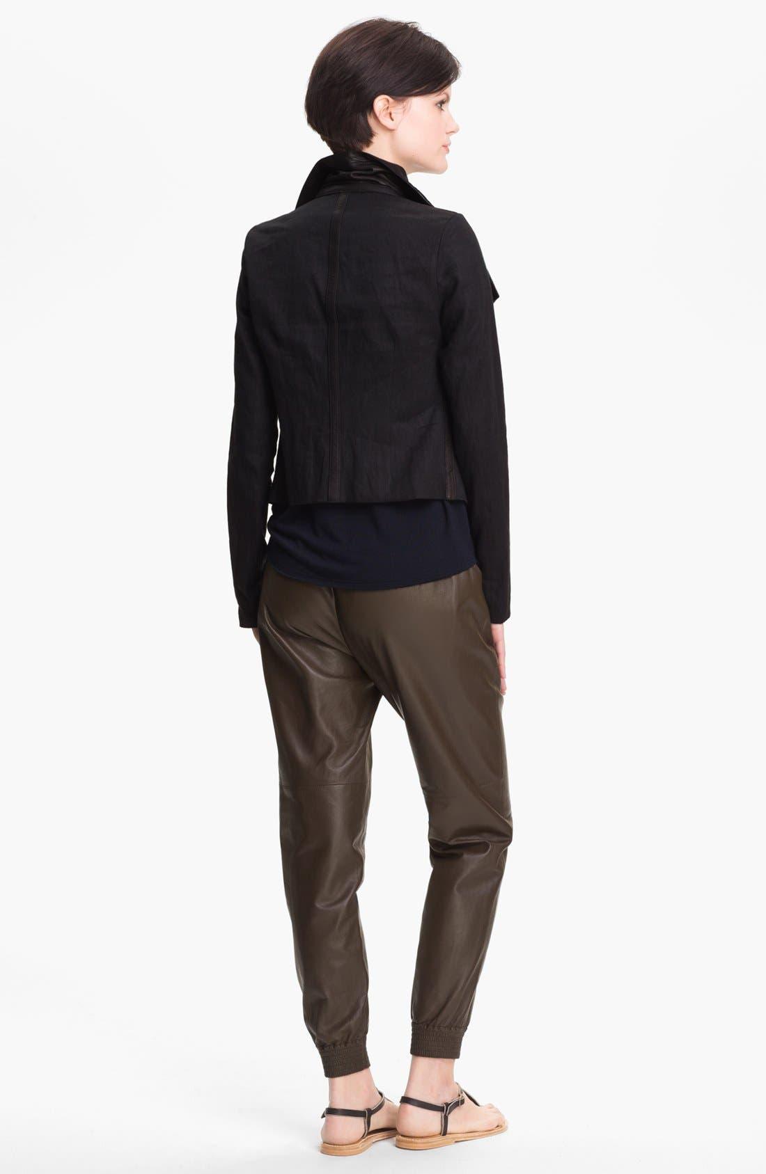 Alternate Image 2  - Vince Linen Blend & Leather Jacket